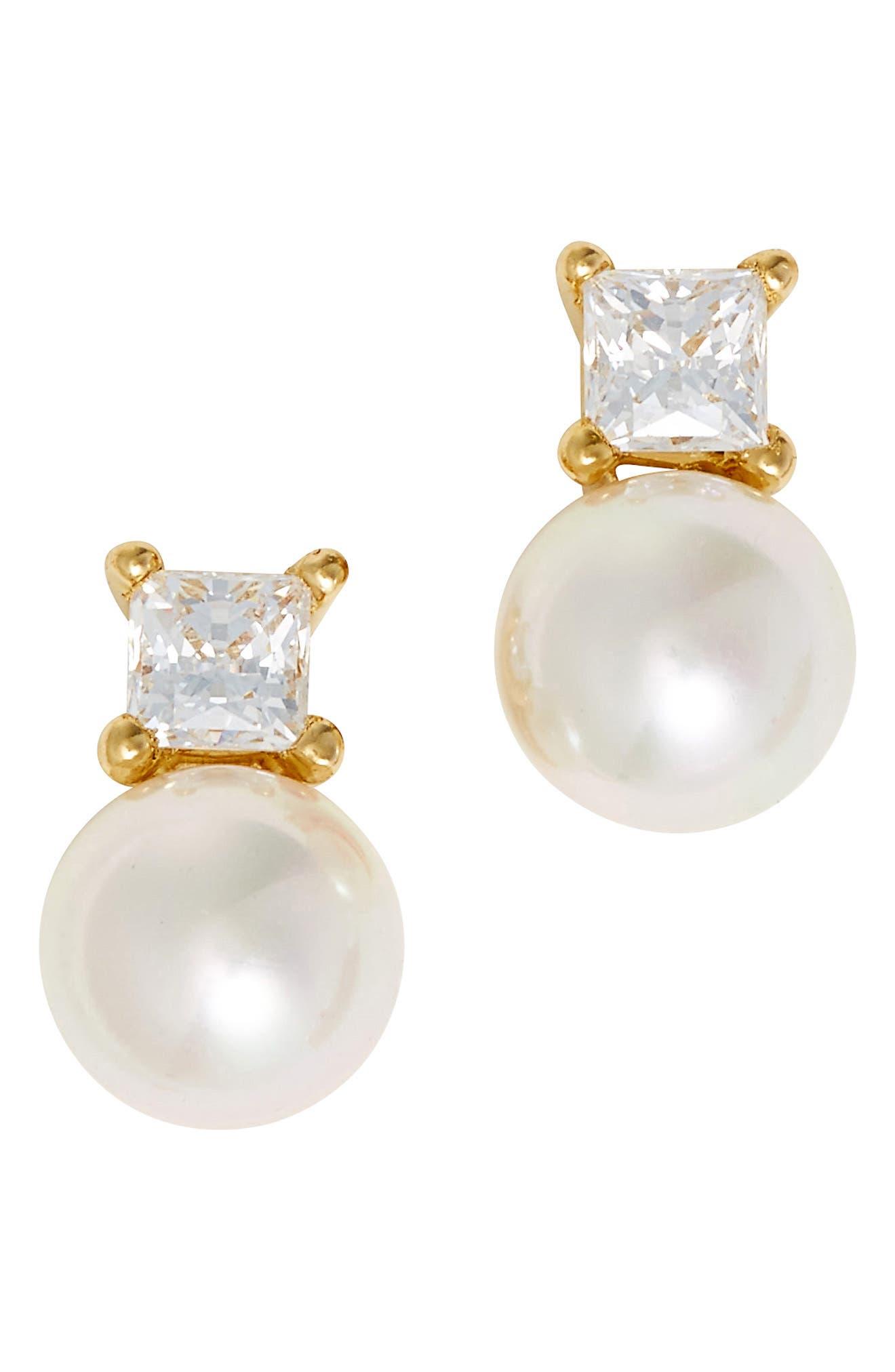 MAJORICA Cubic Zirconia & Faux Pearl Stud Earrings