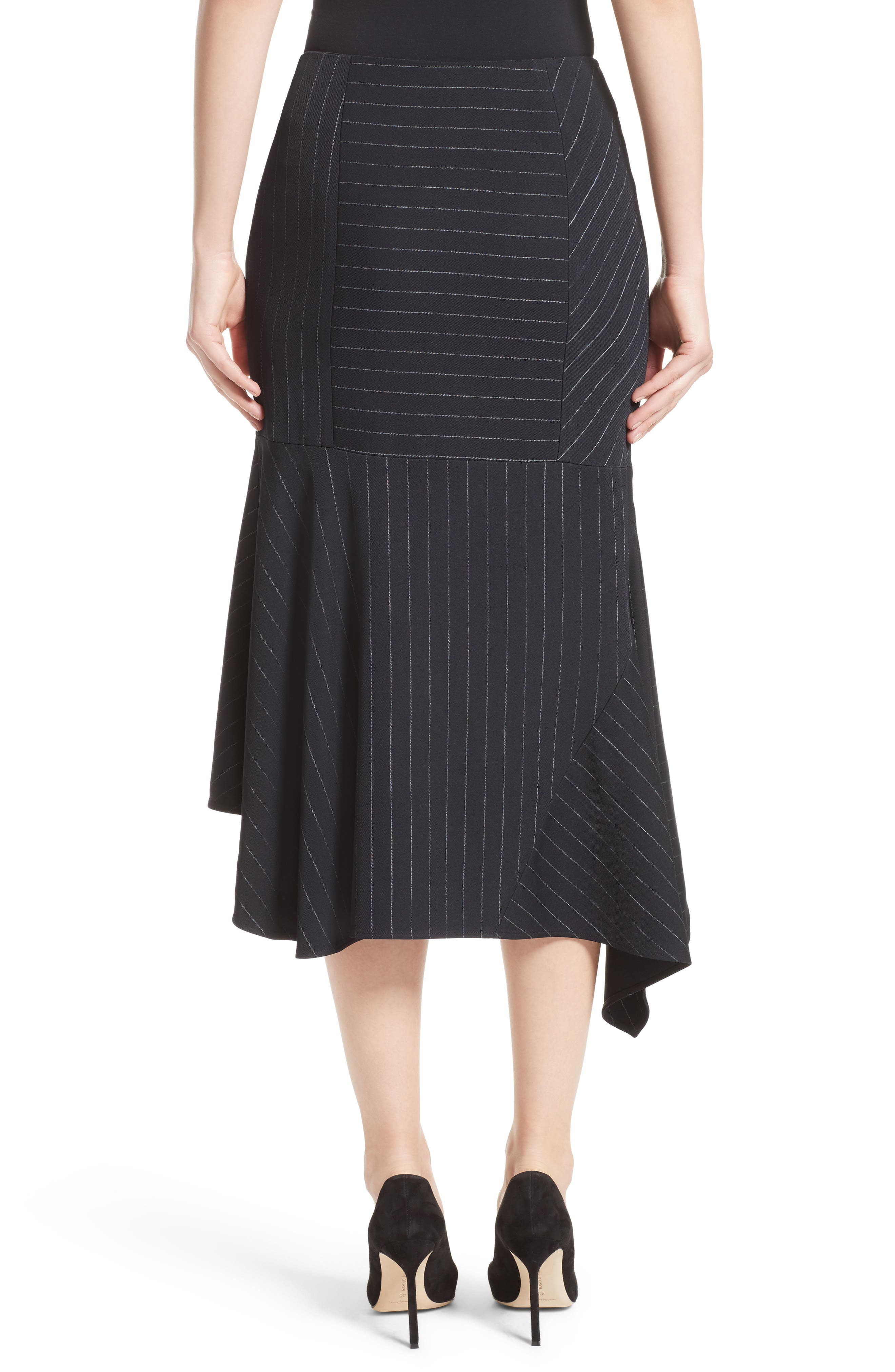 Pinstripe Stretch Asymmetrical Skirt,                             Alternate thumbnail 2, color,                             Black/ Chalk