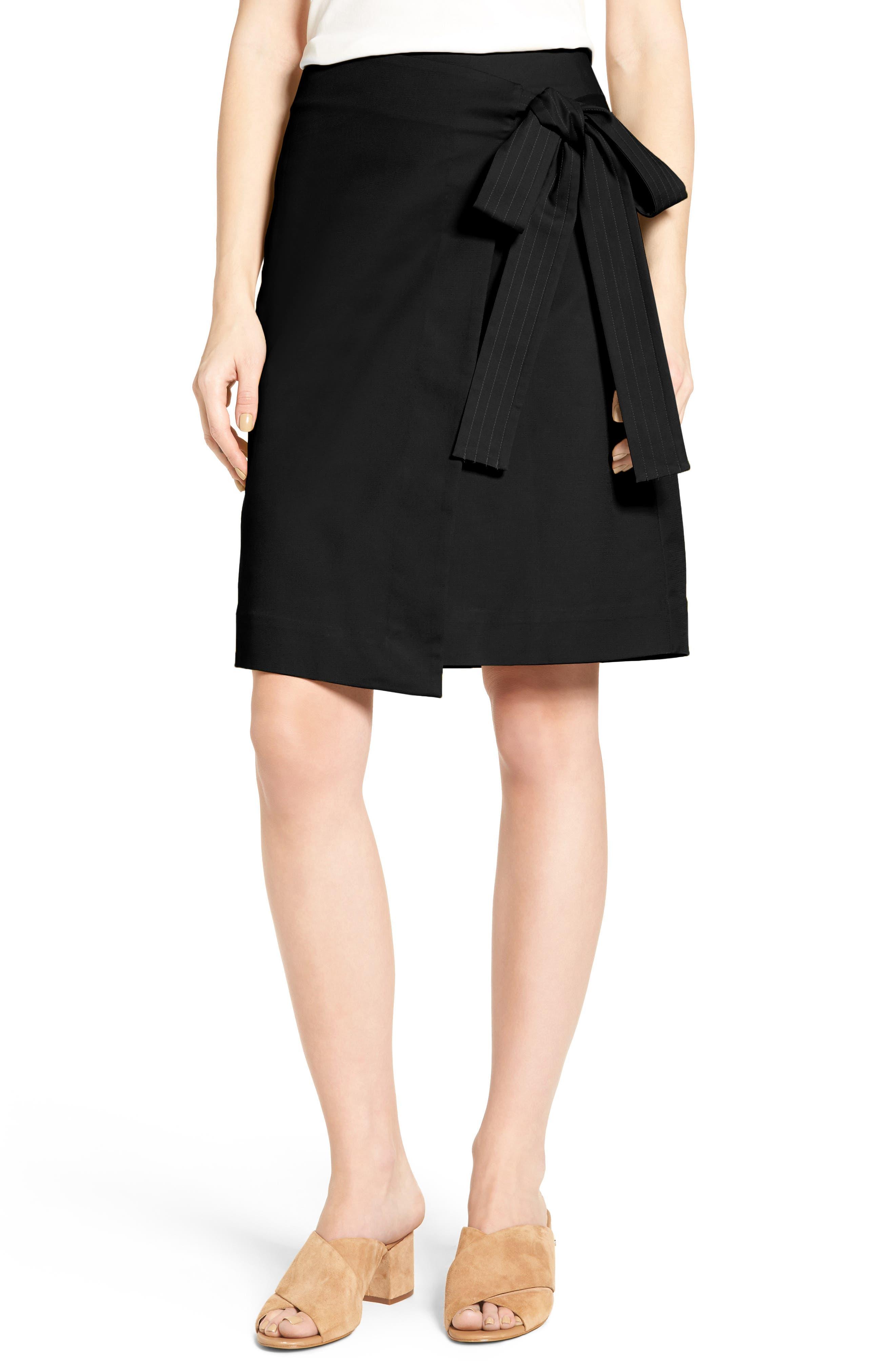 Halogen® Tie Front Skirt (Regular & Petite)