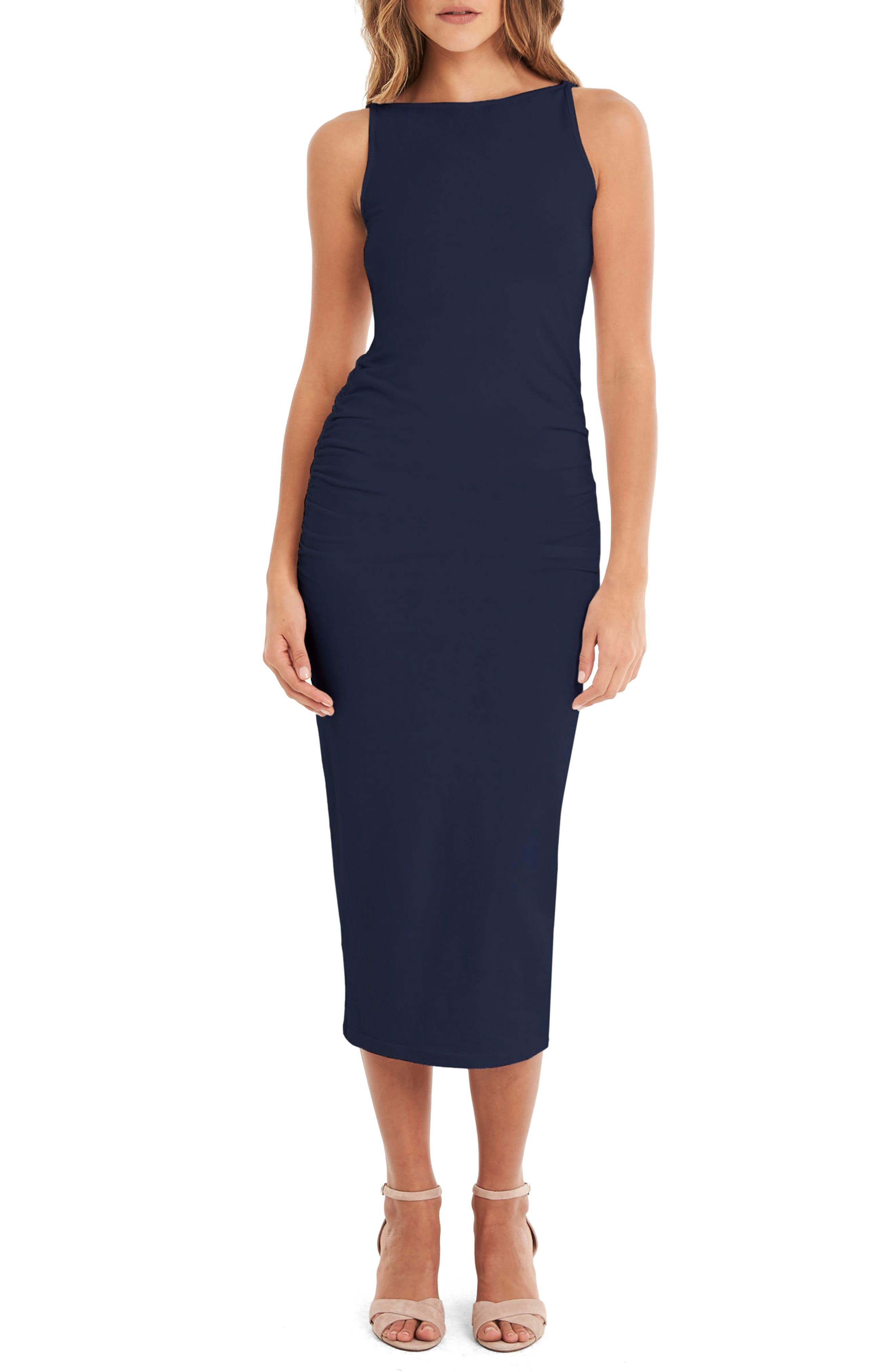 Reversible Stretch Cotton Midi Dress,                         Main,                         color, Nocturnal