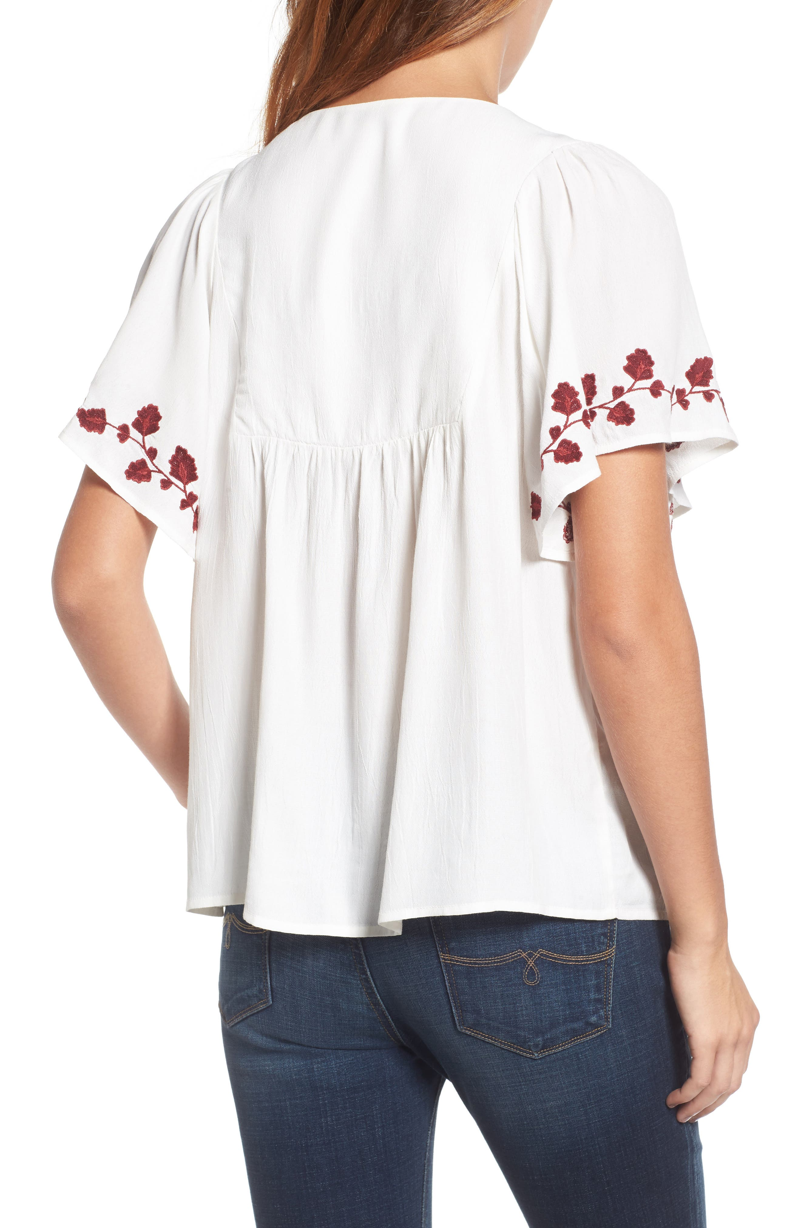 Alternate Image 2  - Lucky Brand Hannah Embroidered Peasant Top
