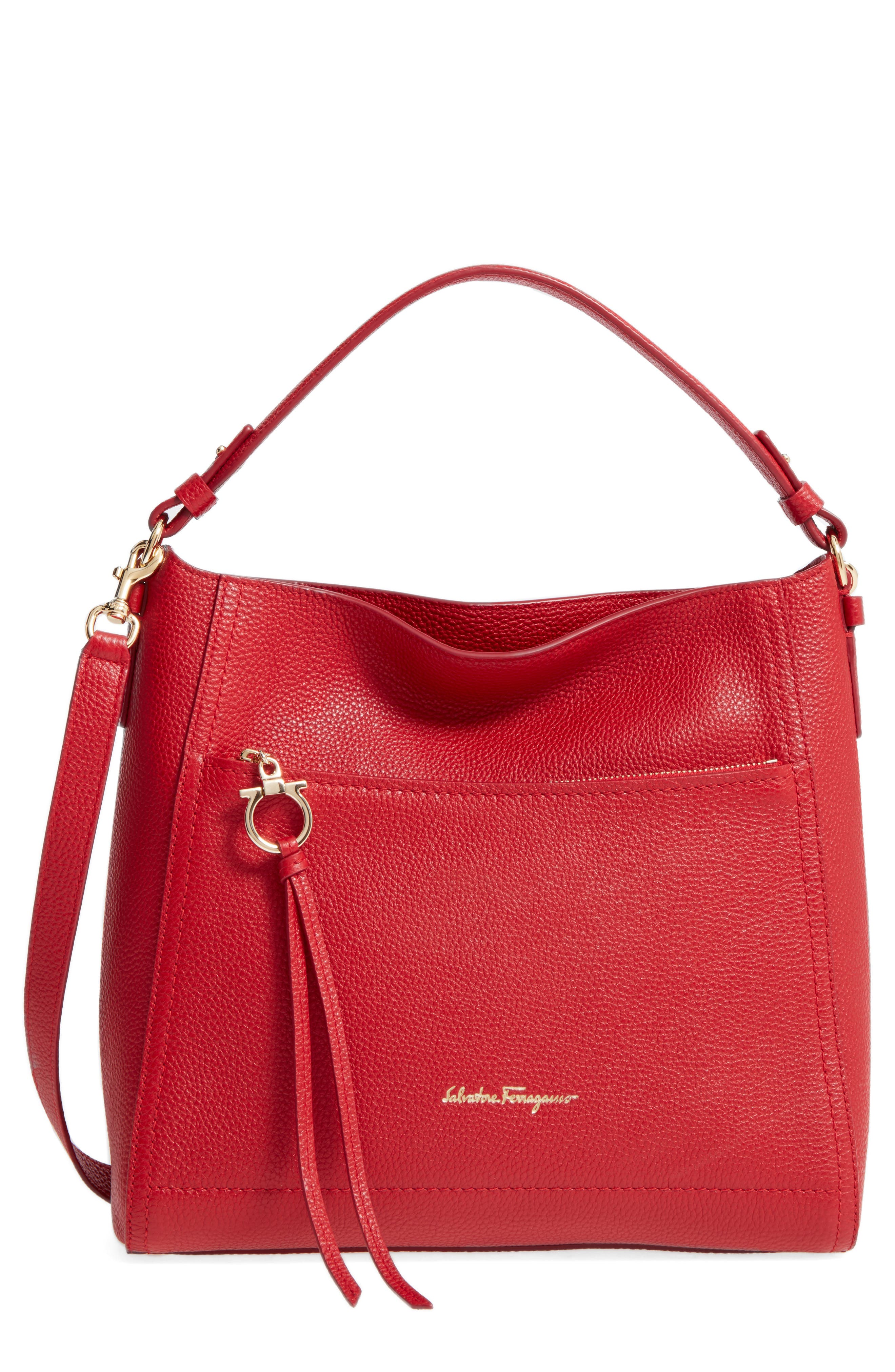 Salvatore Ferragamo Small Pebbled Leather Hobo