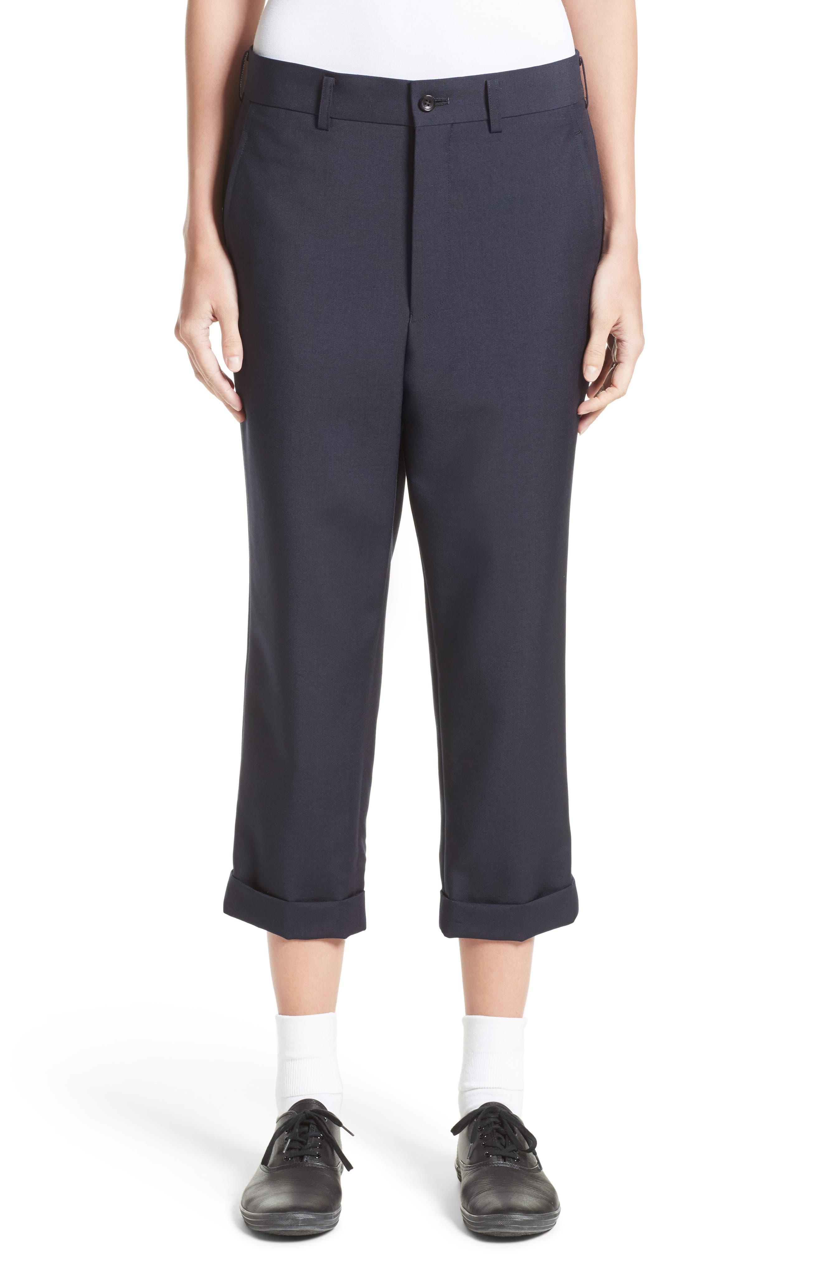 Tropical Wool & Kid Mohair Crop Pants,                         Main,                         color, Navy