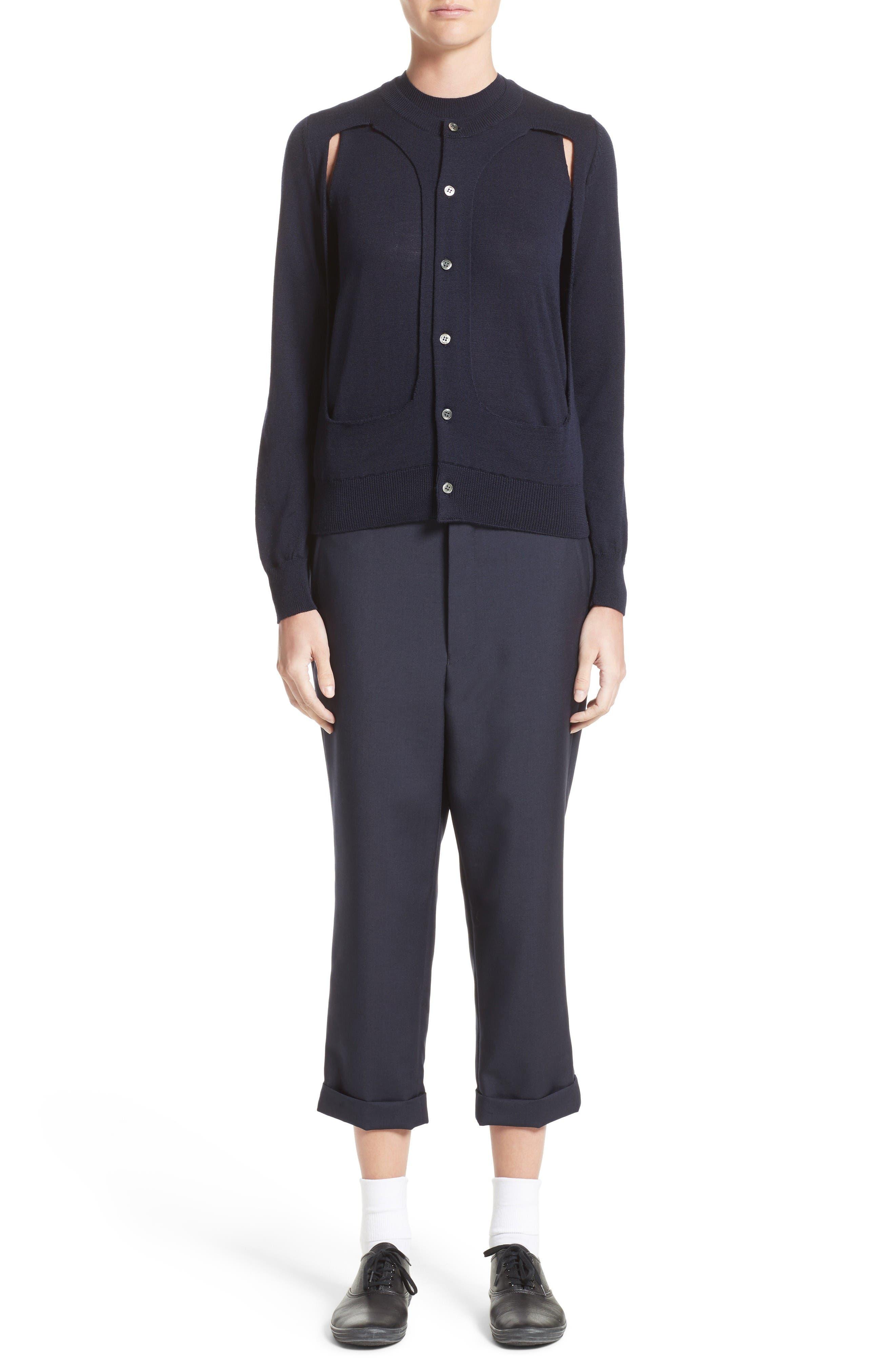 Tropical Wool & Kid Mohair Crop Pants,                             Alternate thumbnail 6, color,                             Navy