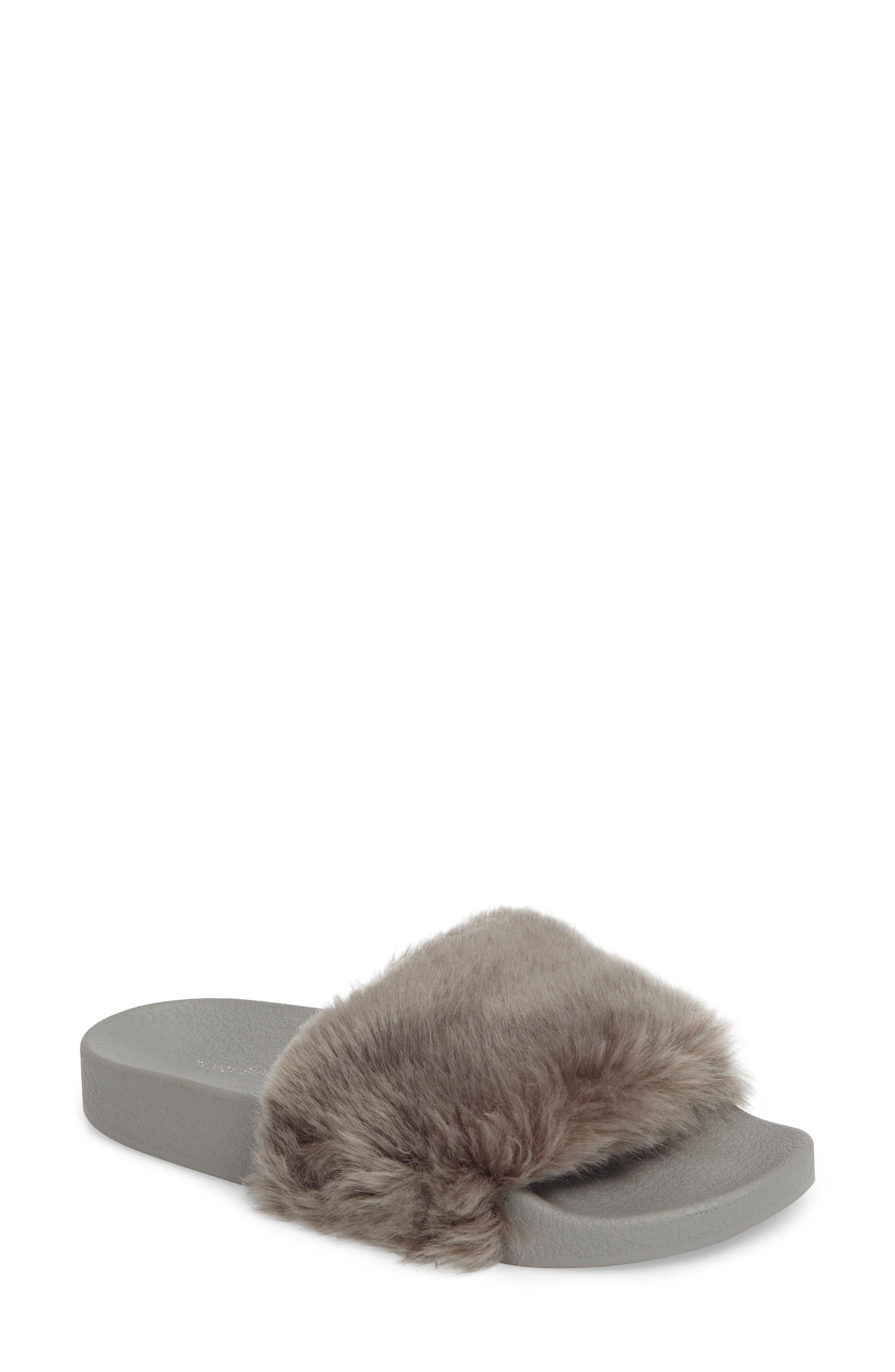 Vixen Slide Sandal,                             Main thumbnail 1, color,                             Grey Faux Fur
