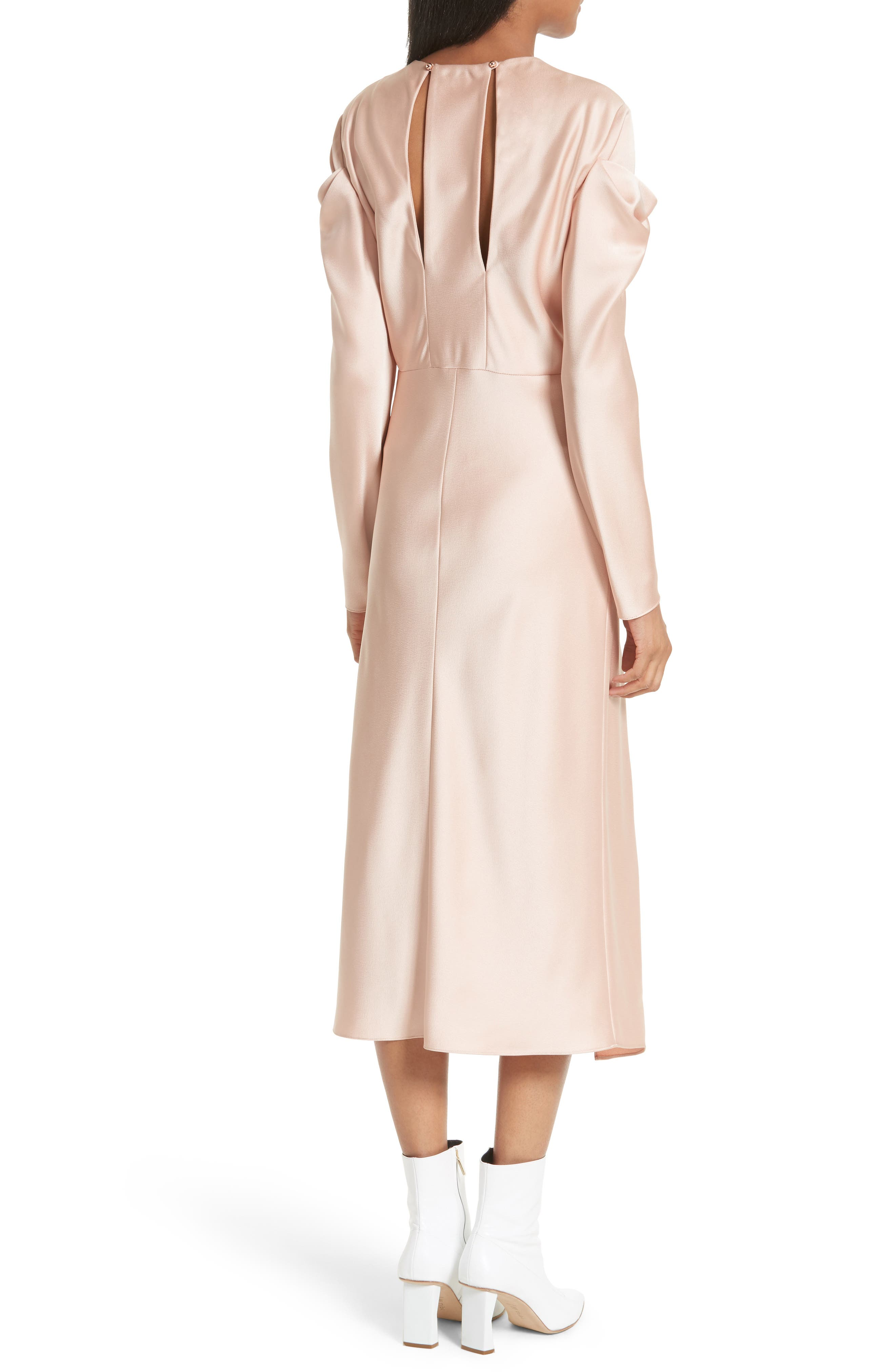 Celestia Drape Sleeve Midi Dress,                             Alternate thumbnail 2, color,                             Blush