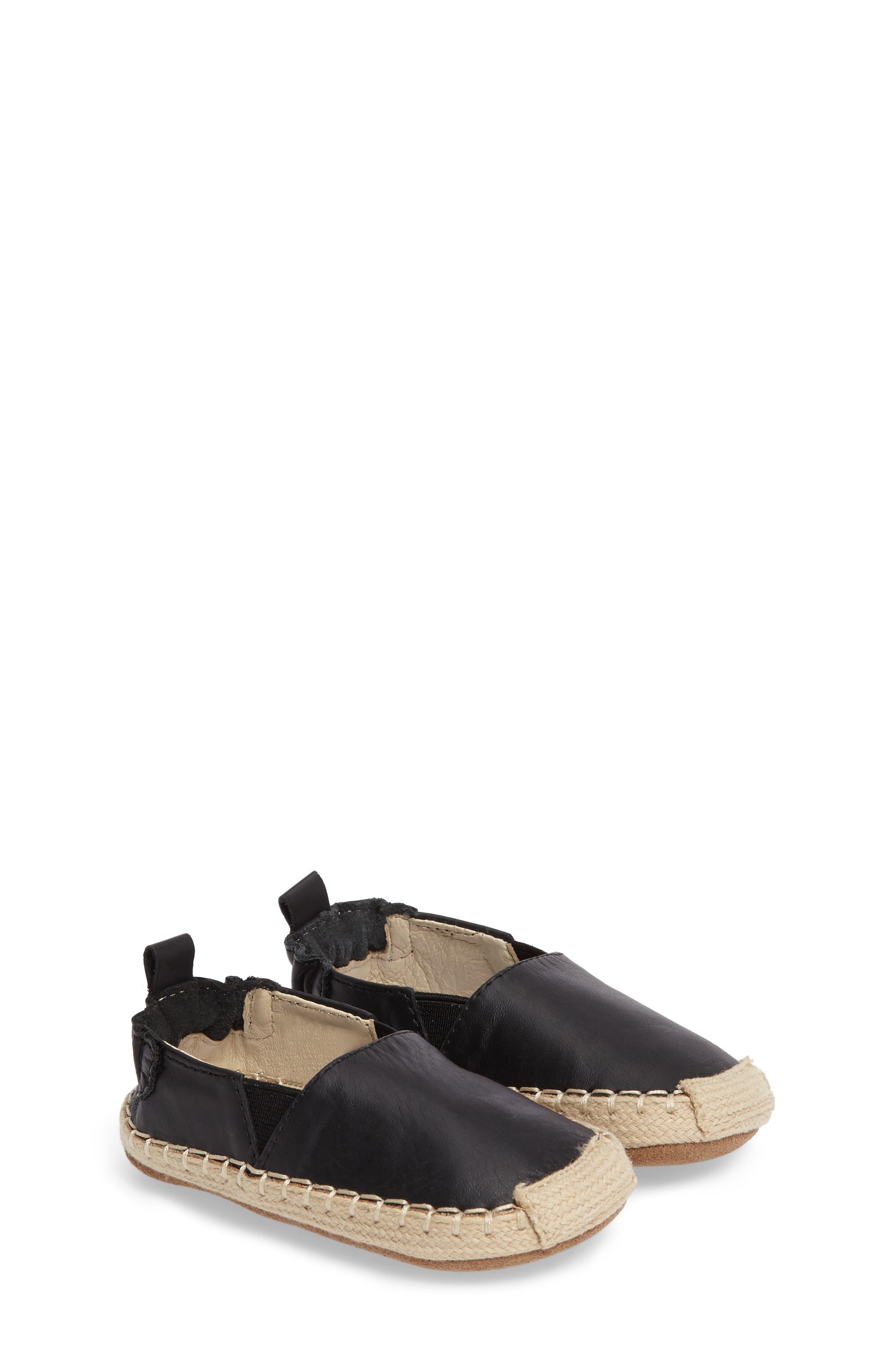 Ellie Crib Shoe,                             Main thumbnail 1, color,                             Black Leather