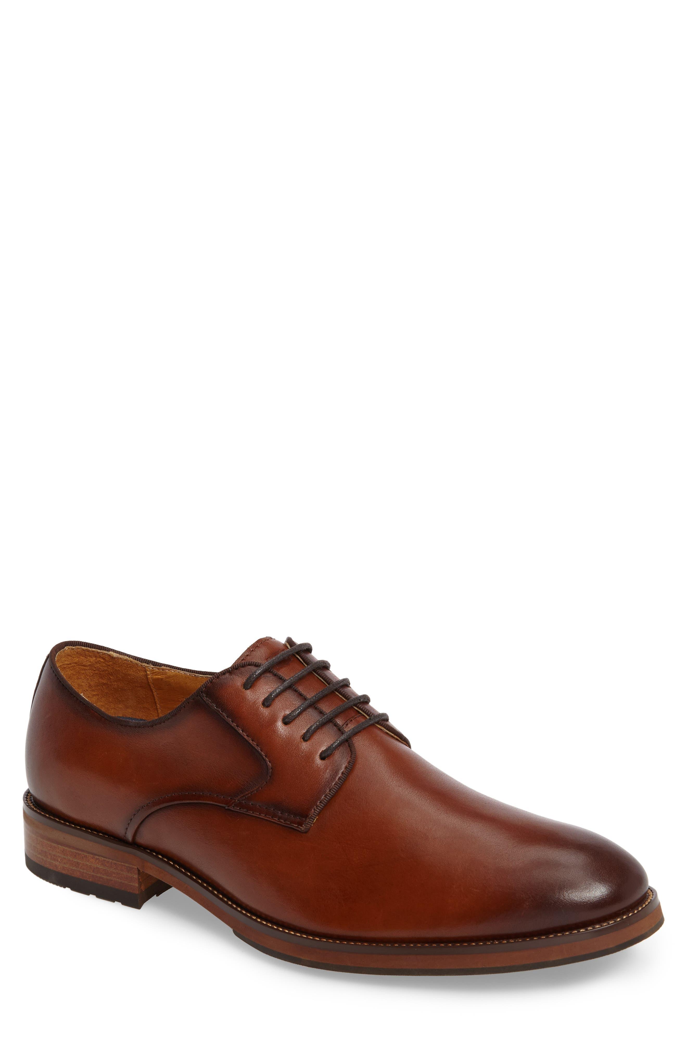 Blaze Plain Toe Derby,                         Main,                         color, Cognac Leather
