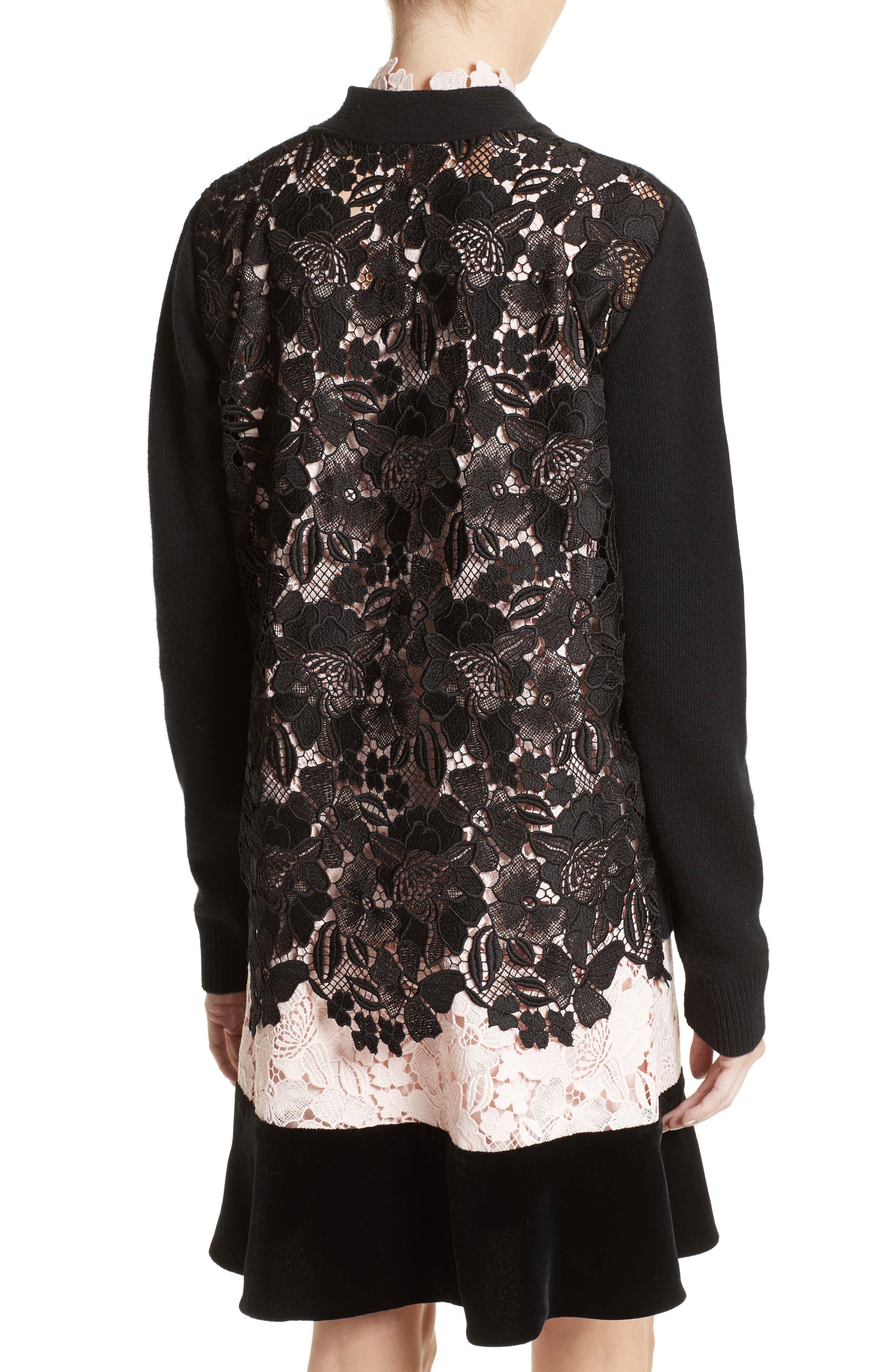 Alternate Image 3  - N°21 Lace Back Wool Blend Cardigan