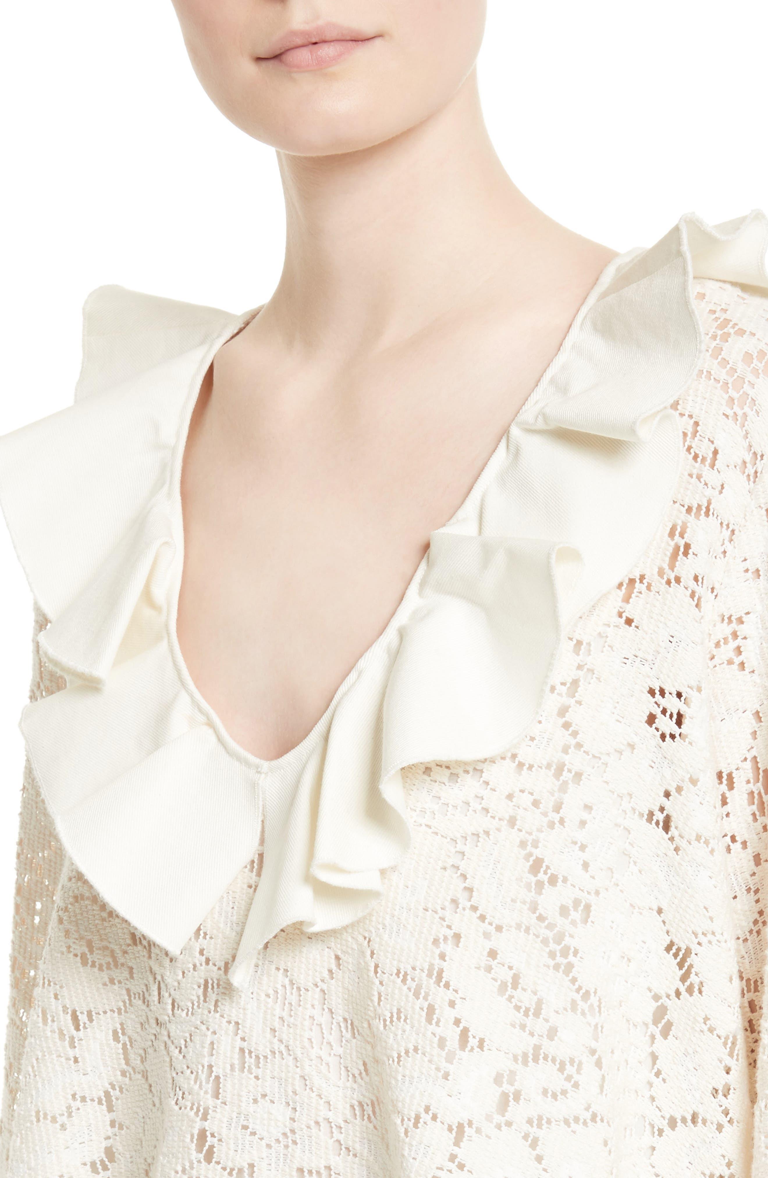 Ruffle Lace Blouse,                             Alternate thumbnail 4, color,                             Natural White
