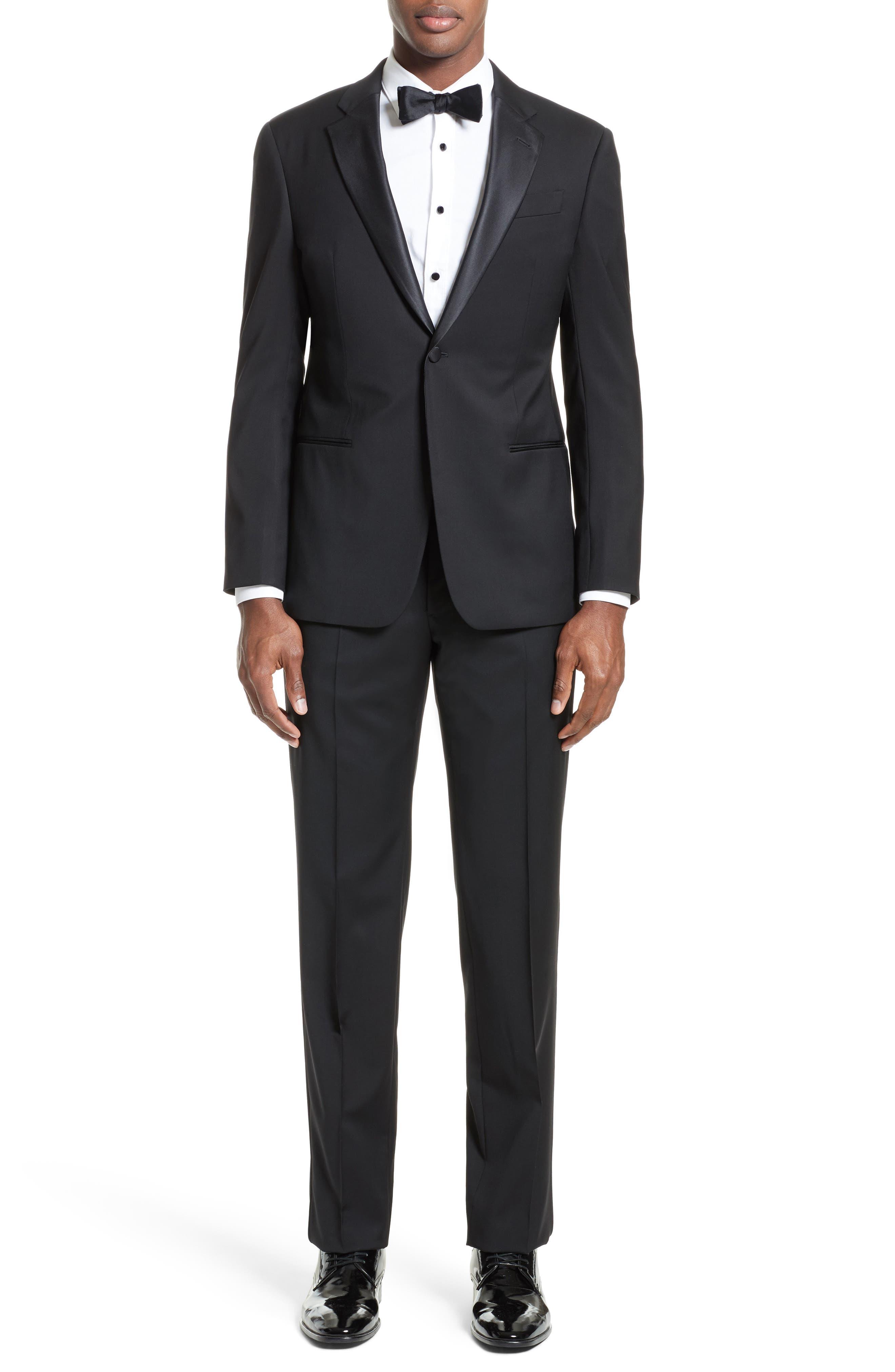 Trim Fit Wool Tuxedo,                         Main,                         color, Black