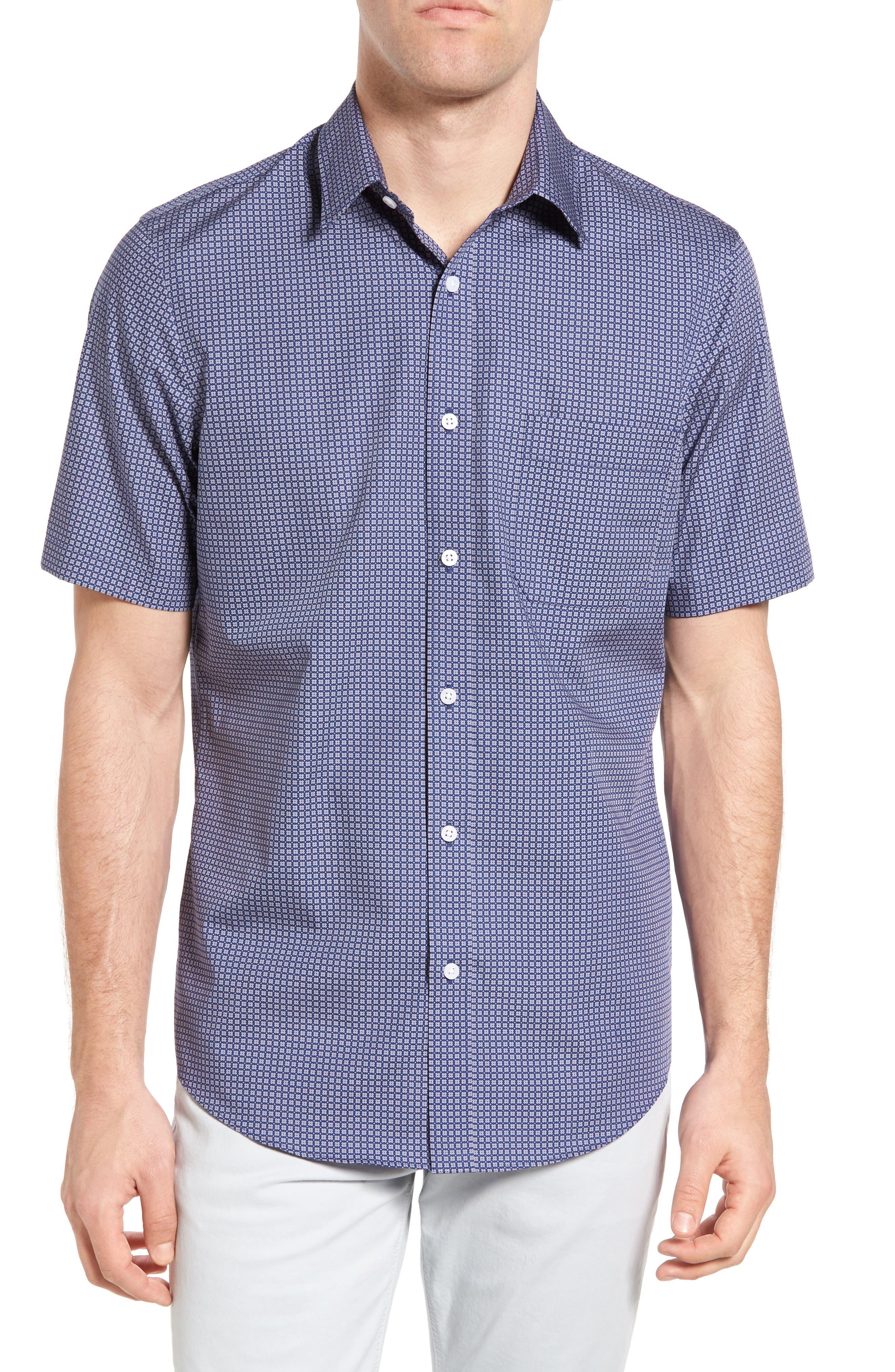 NORDSTROM MENS SHOP Regular Fit Non-Iron Floral Print Sport Shirt