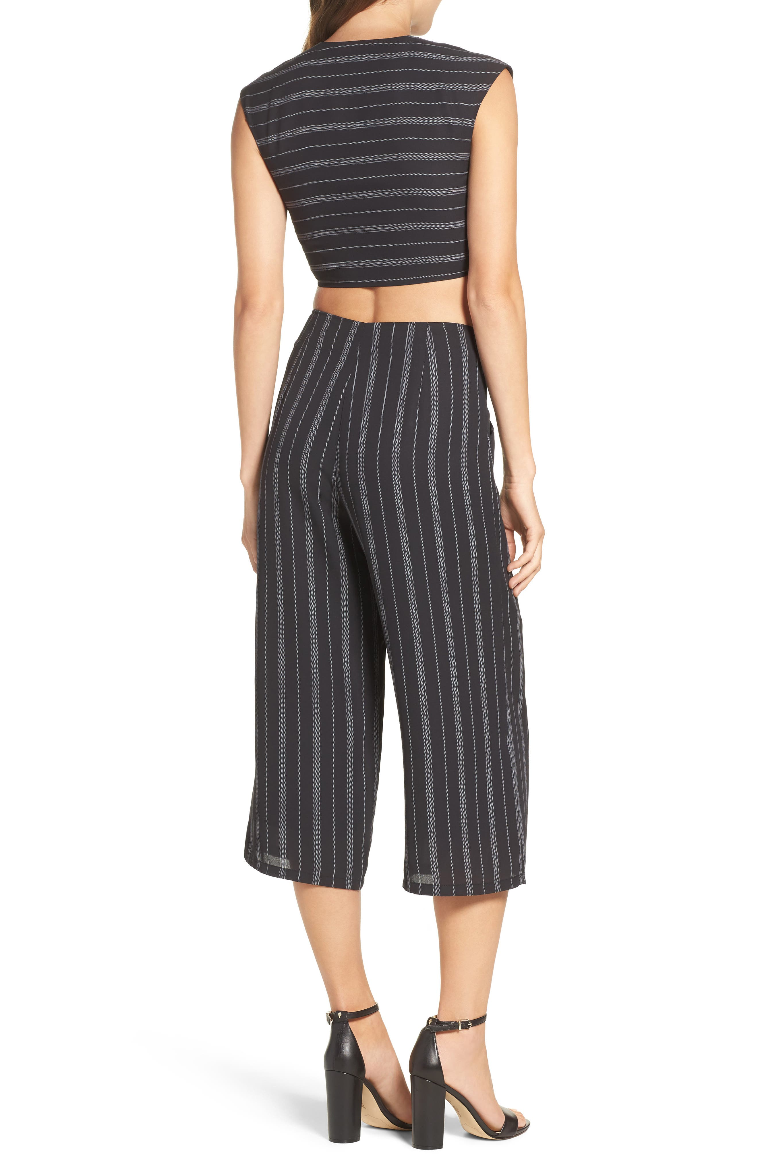 Poolside Periodicals Crop Top & Culottes Set,                             Alternate thumbnail 3, color,                             Black Stripe