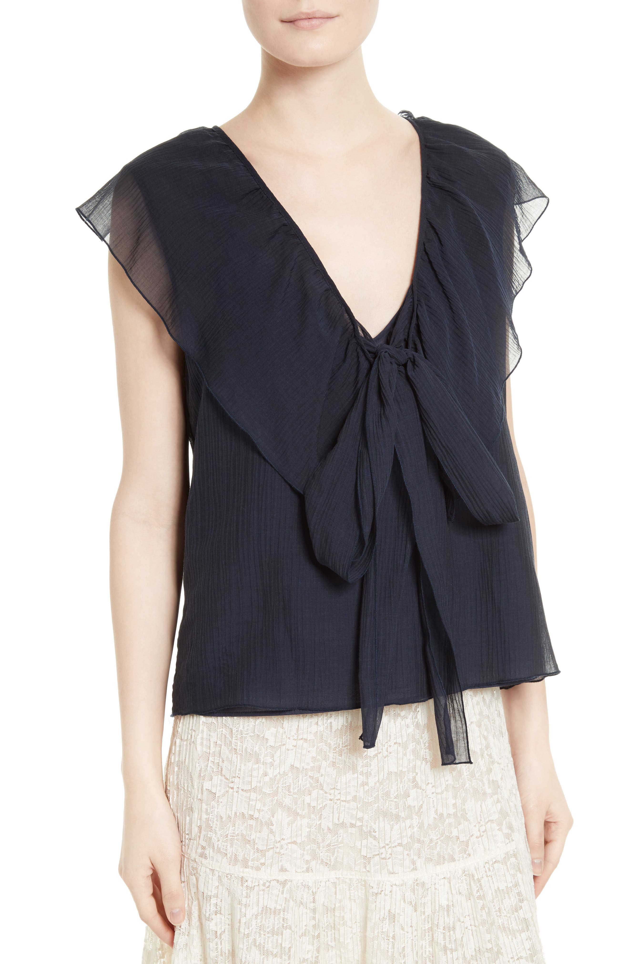 Alternate Image 5  - See by Chloé Cotton & Silk Ruffle Top