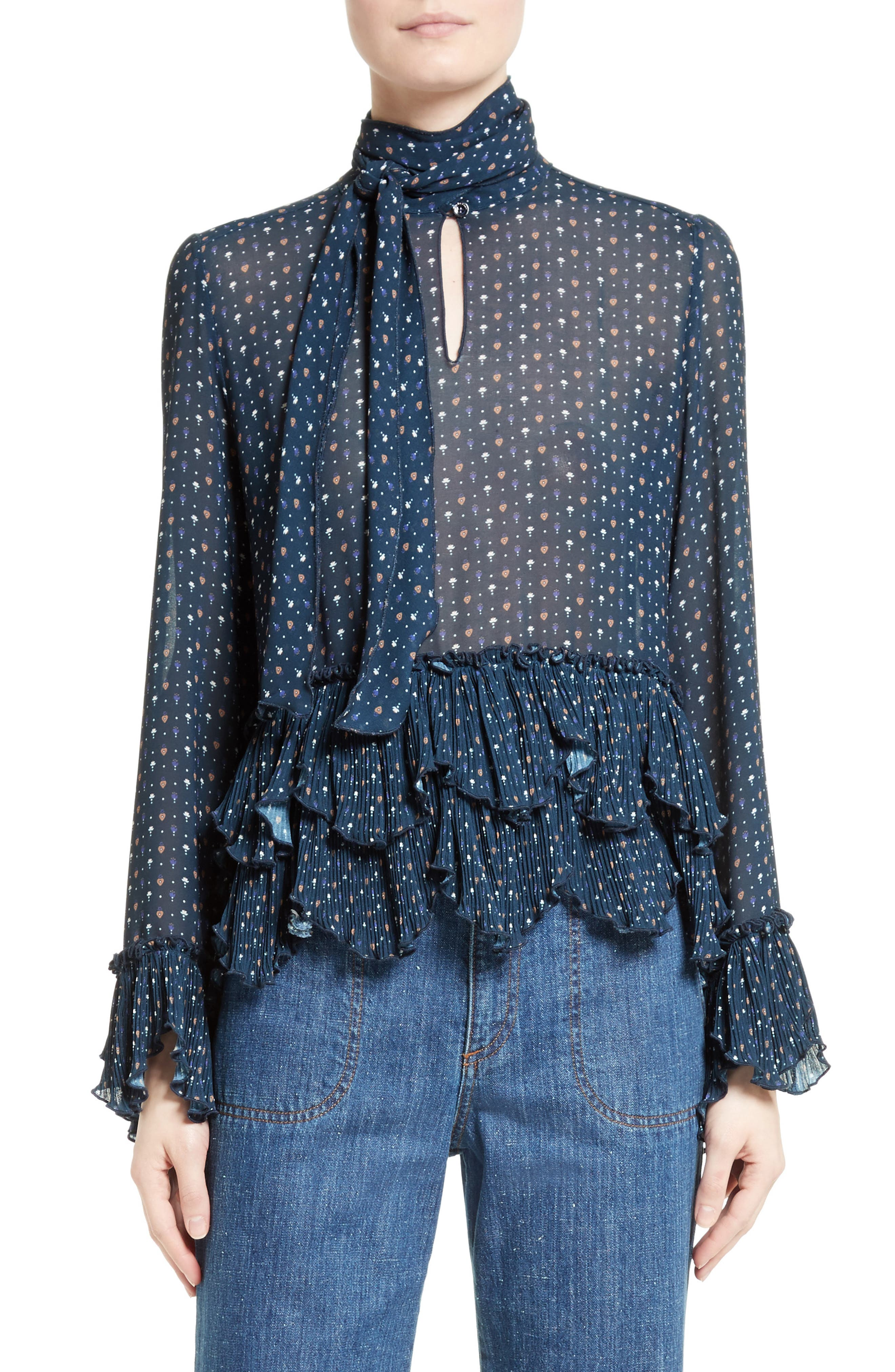 Alternate Image 1 Selected - See by Chloé Tie Neck Ruffle Hem Blouse