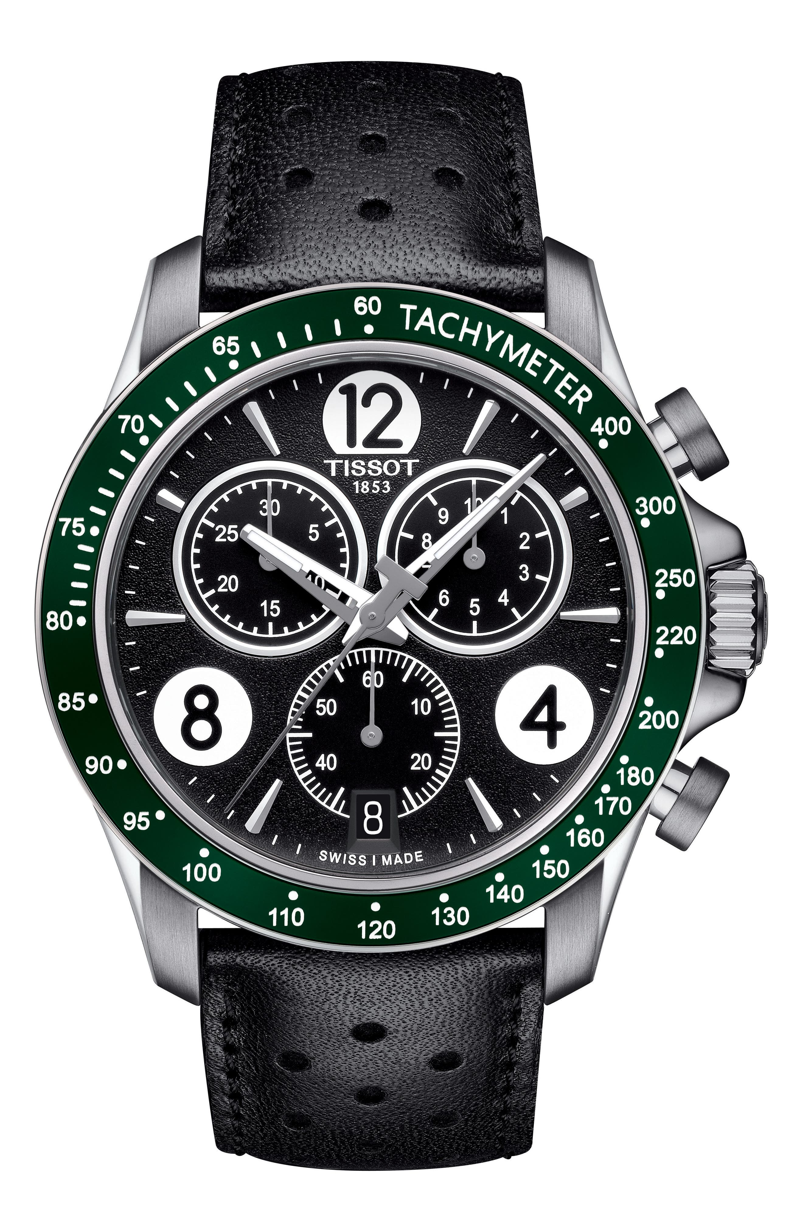 V8 Chronographic Leather Strap Watch, 43mm,                         Main,                         color, Black/ Green/ Silver