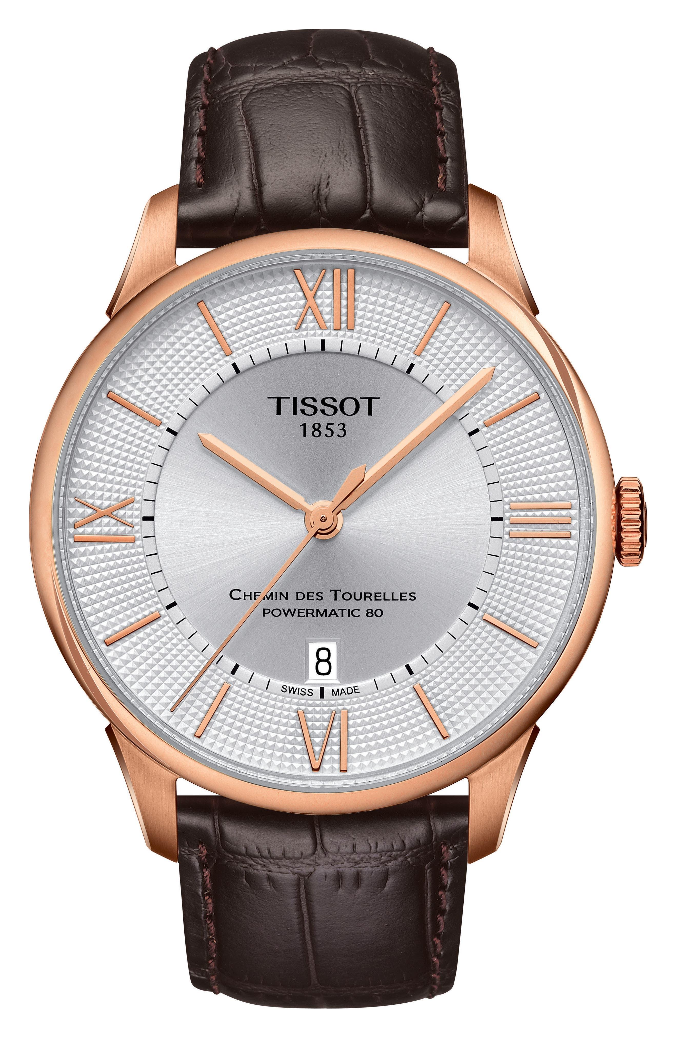 Chemin Des Tourelles Automatic Leather Strap Watch, 42mm,                             Main thumbnail 1, color,                             Brown/ Silver/ Rose Gold