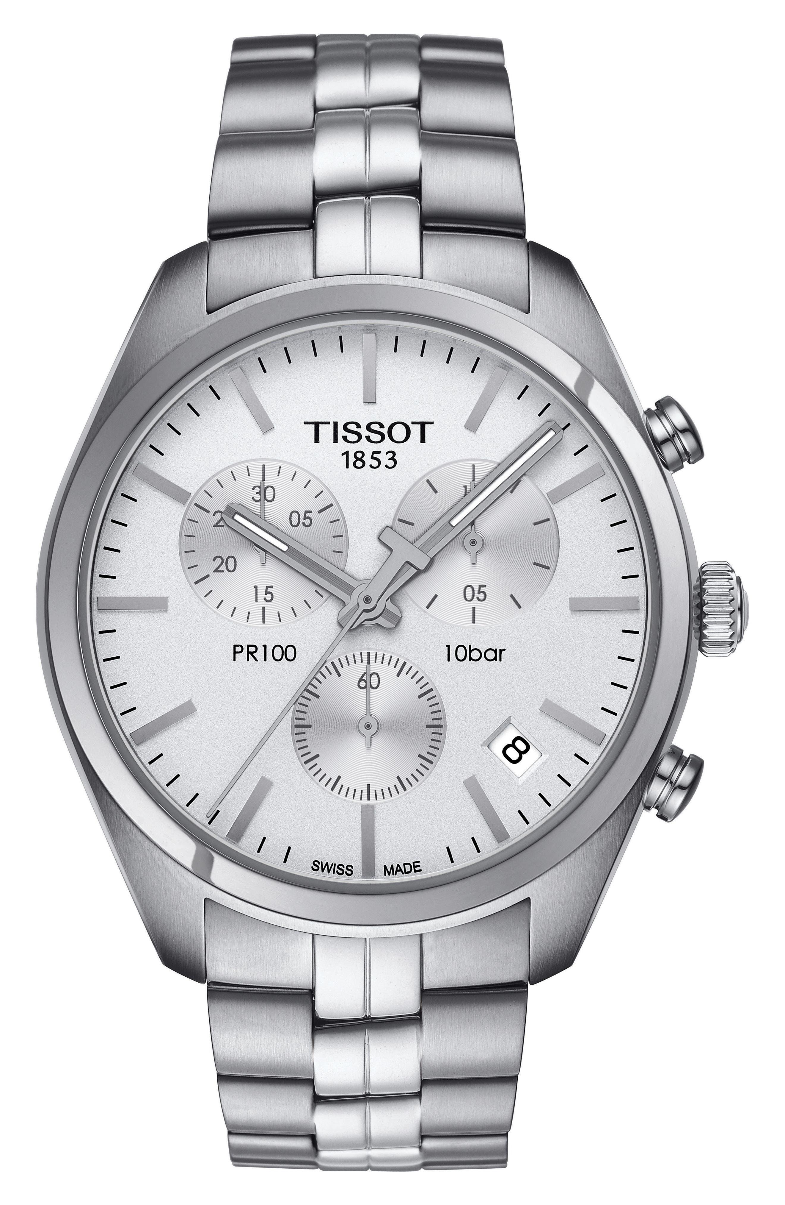 PR100 Chronograph Bracelet Watch, 41mm,                         Main,                         color, Silver