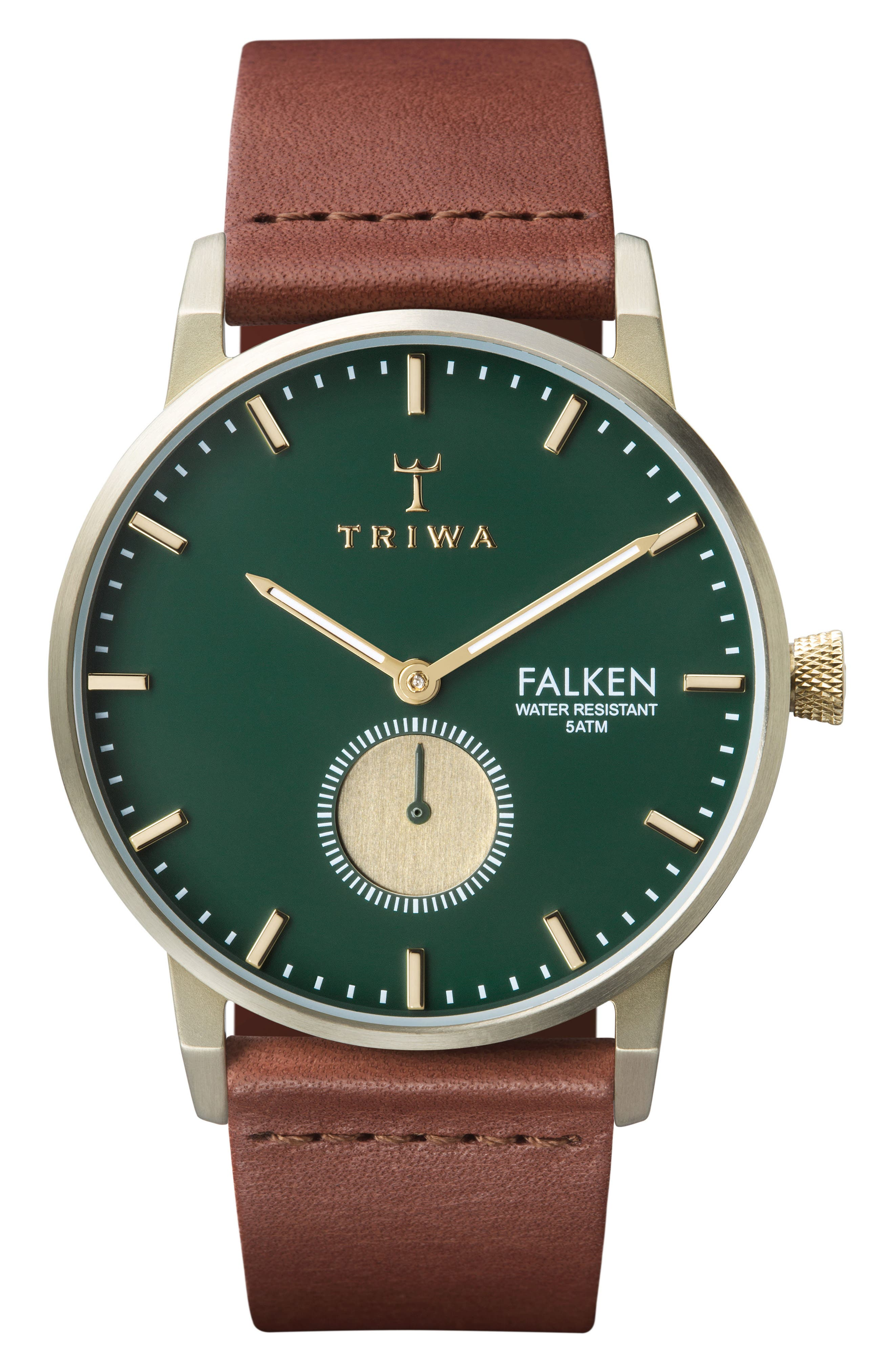 Pine Falken Organic Leather Strap Watch, 38mm,                         Main,                         color, Brown/ Green/ Gold