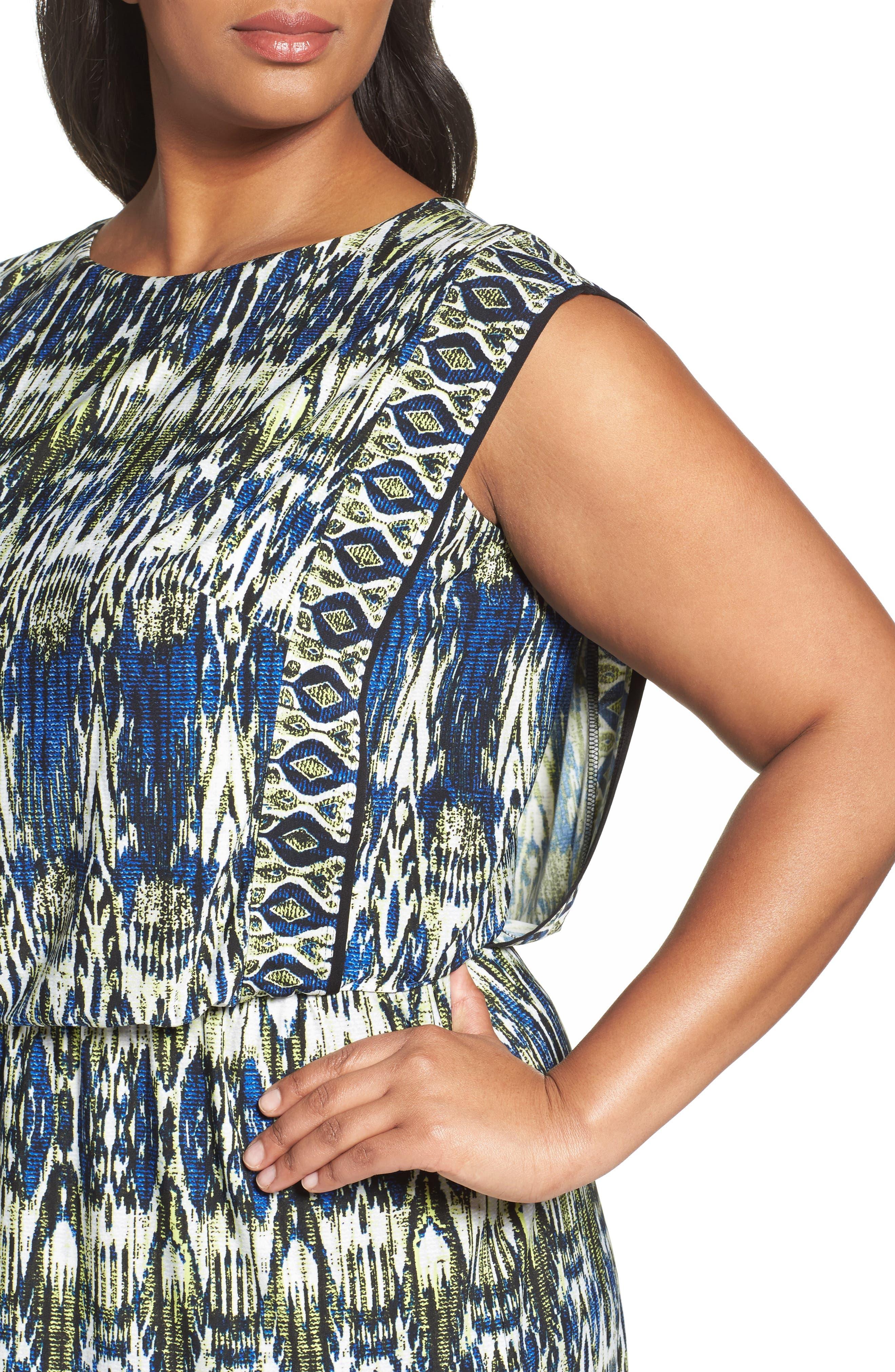 Alternate Image 4  - London Times Print Jersey Blouson Dress (Plus Size)
