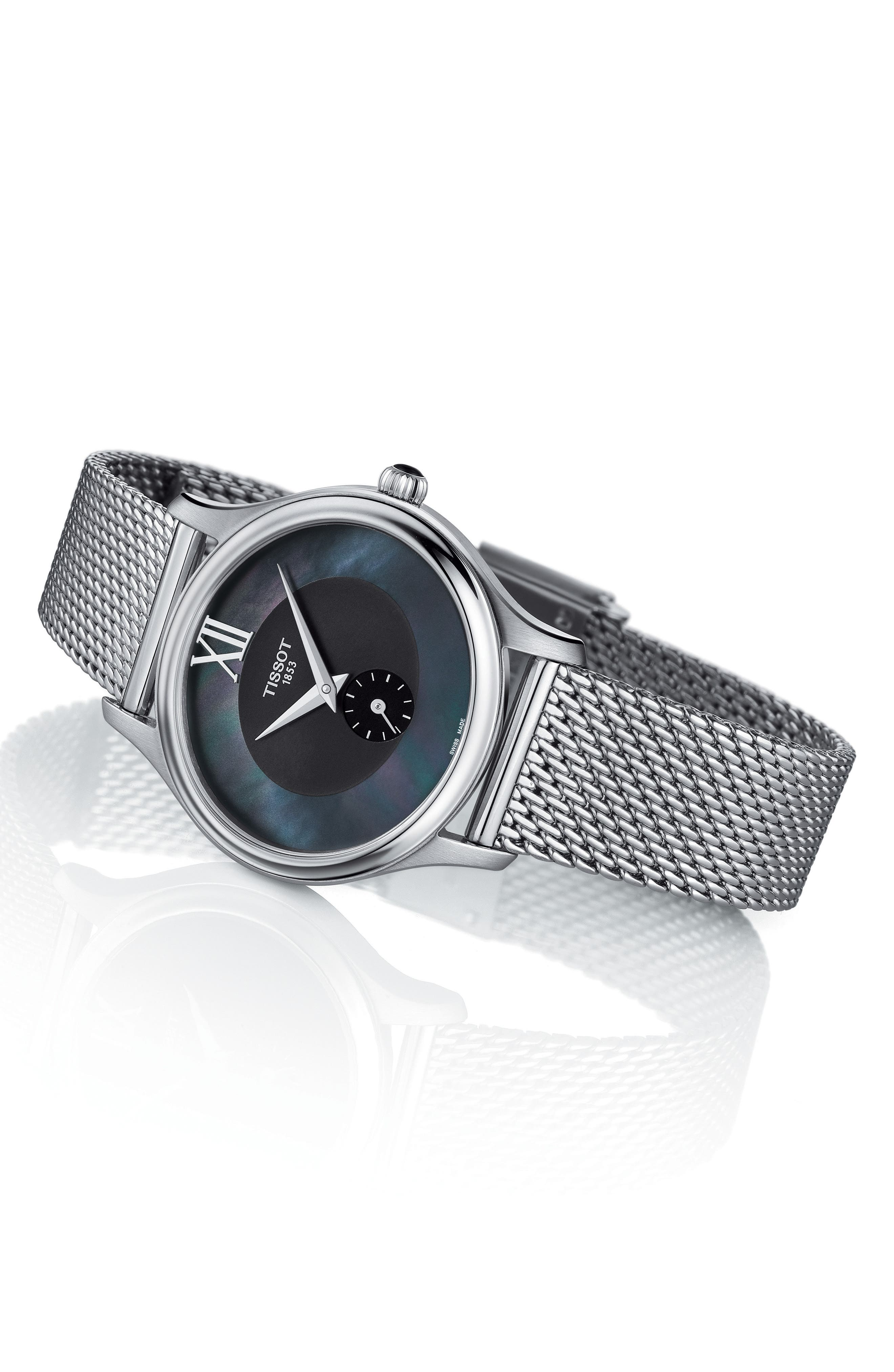 Bella Ora Mesh Strap Watch, 28mm,                             Alternate thumbnail 2, color,                             Silver/ Blackmother Of Pearl