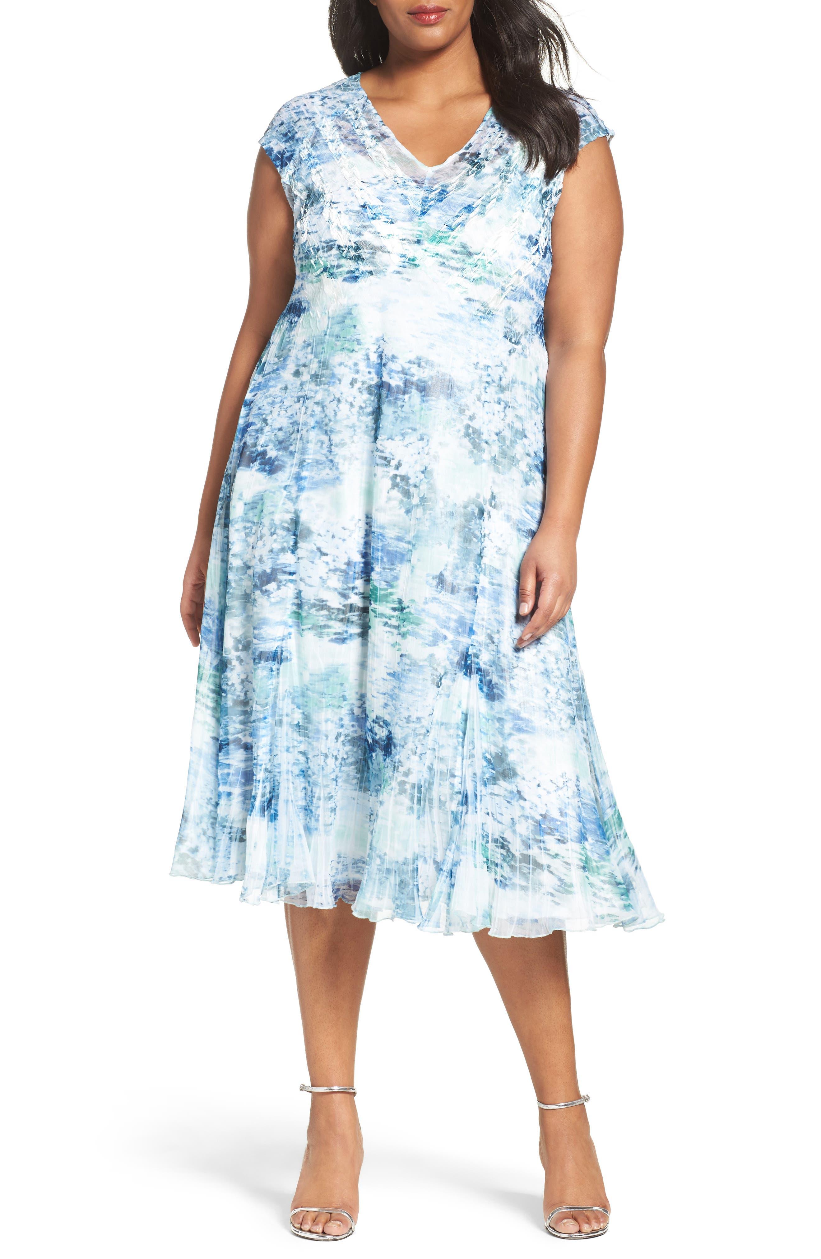 Print Chiffon A-Line Dress,                         Main,                         color, Water Lily