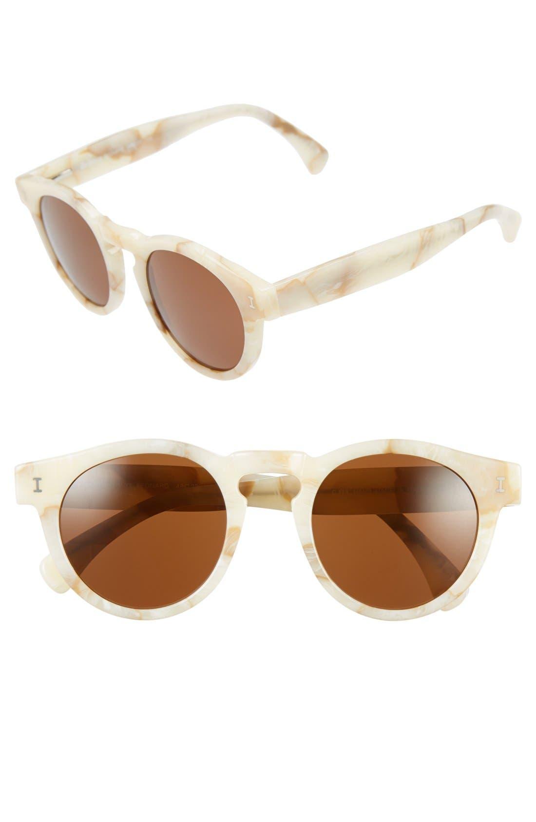 'Leonard' 47mm Sunglasses,                         Main,                         color, Cream Marble/ Brown Lenses