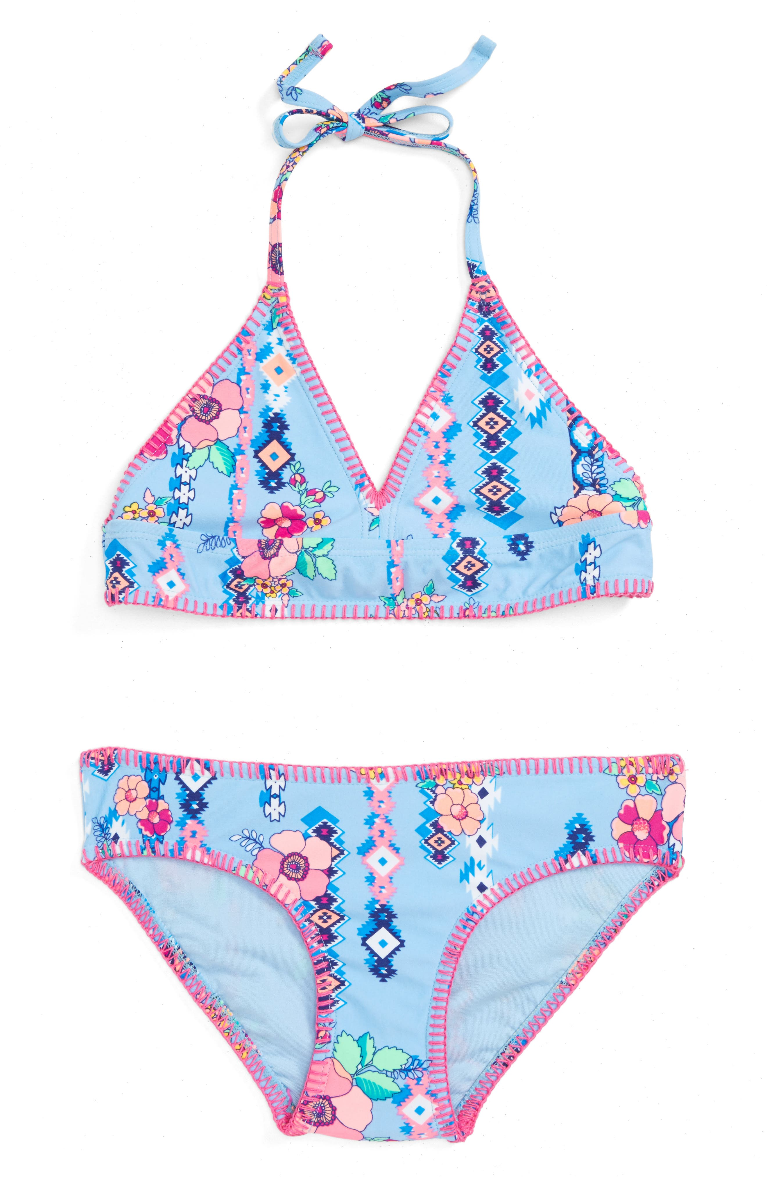 Alternate Image 1 Selected - Gossip Girl Flower Two-Piece Swimsuit (Big Girls)