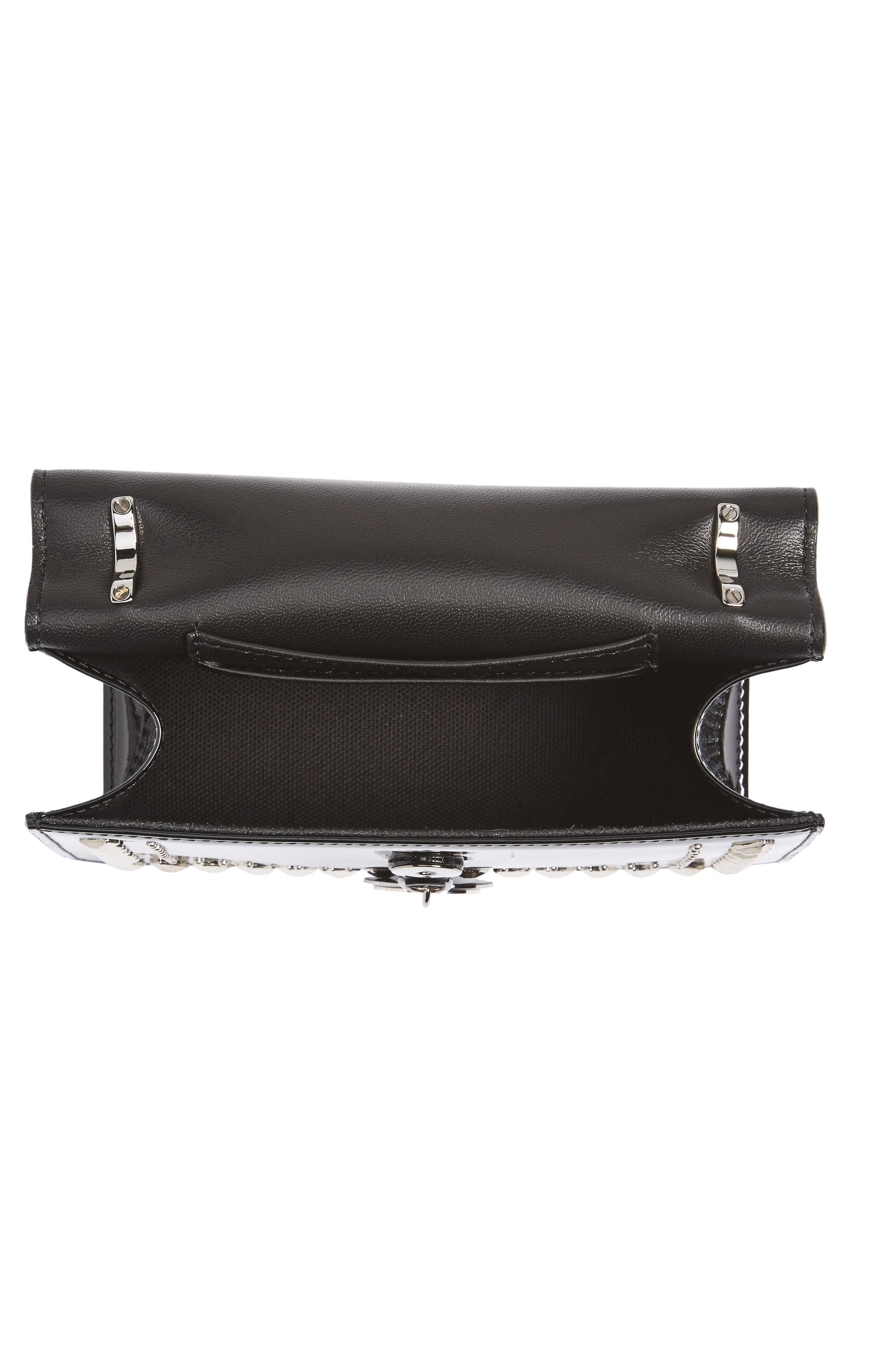 Finley Studded Leather Shoulder Bag,                             Alternate thumbnail 4, color,                             Black