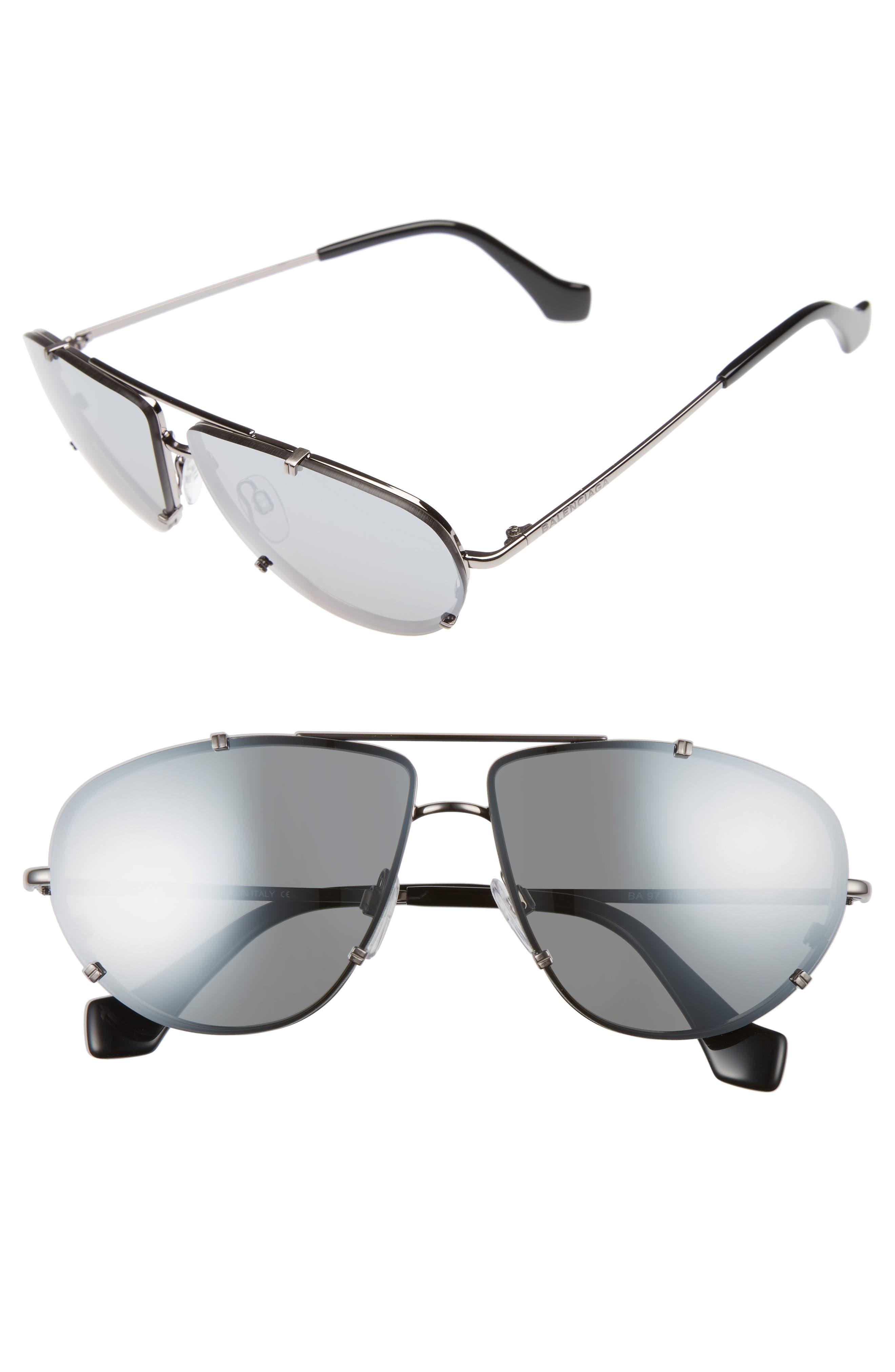 62mm Aviator Sunglasses,                         Main,                         color, Ruthenium/ Black/ Smoke Mirror
