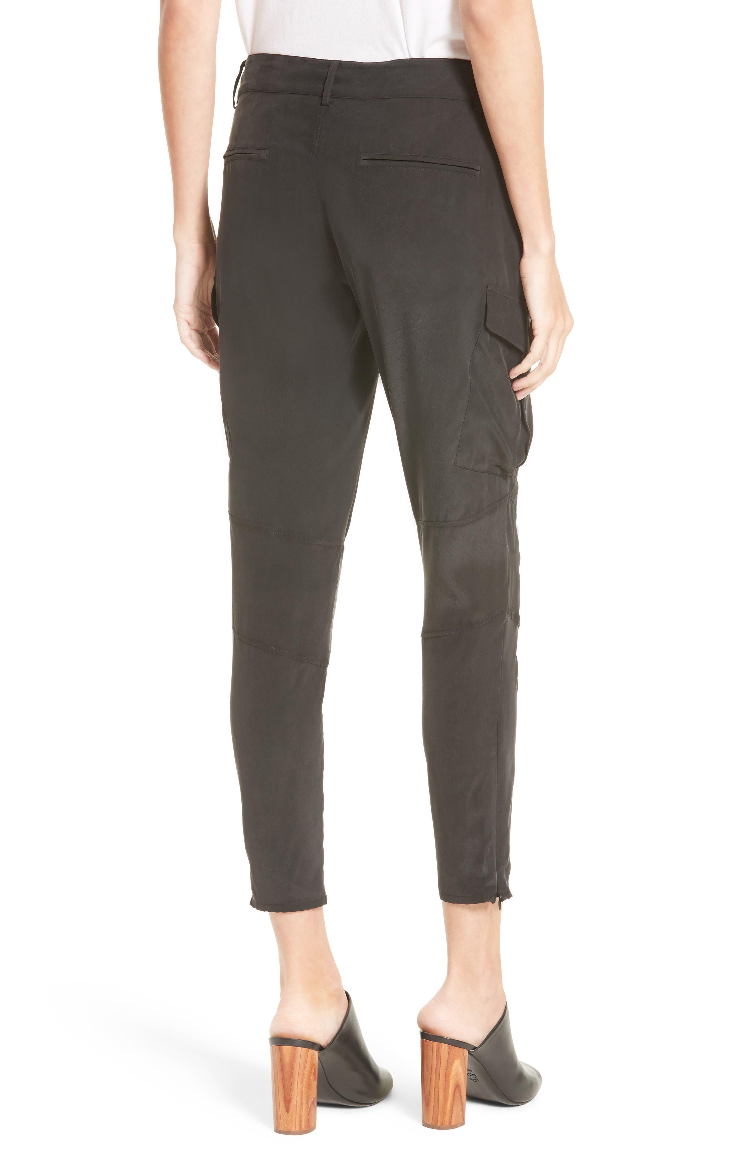 Bevin Silk Crop Cargo Pants,                             Alternate thumbnail 2, color,                             Black