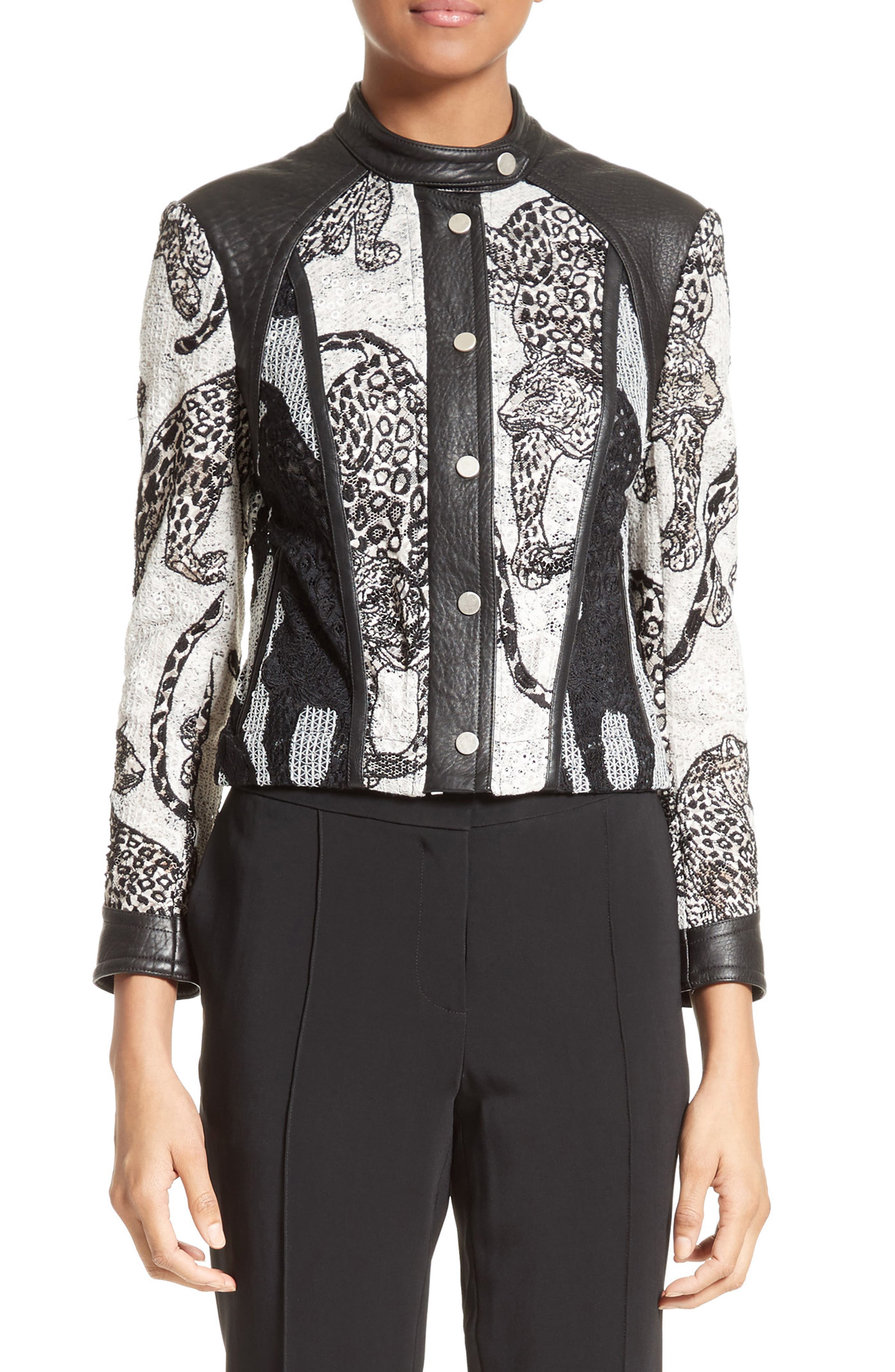 Alternate Image 1 Selected - Yigal Azrouël Lace & Leather Moto Jacket