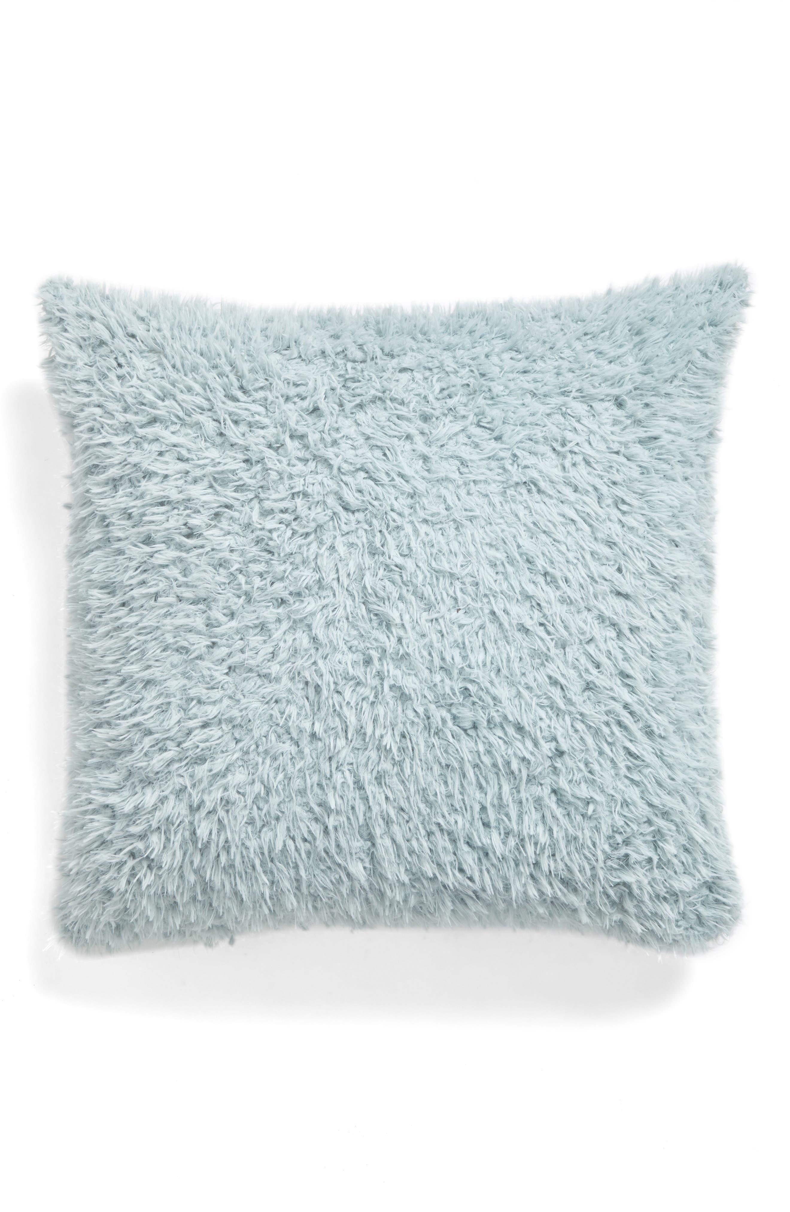 Shaggy Plush Pillow,                         Main,                         color, Green Soft