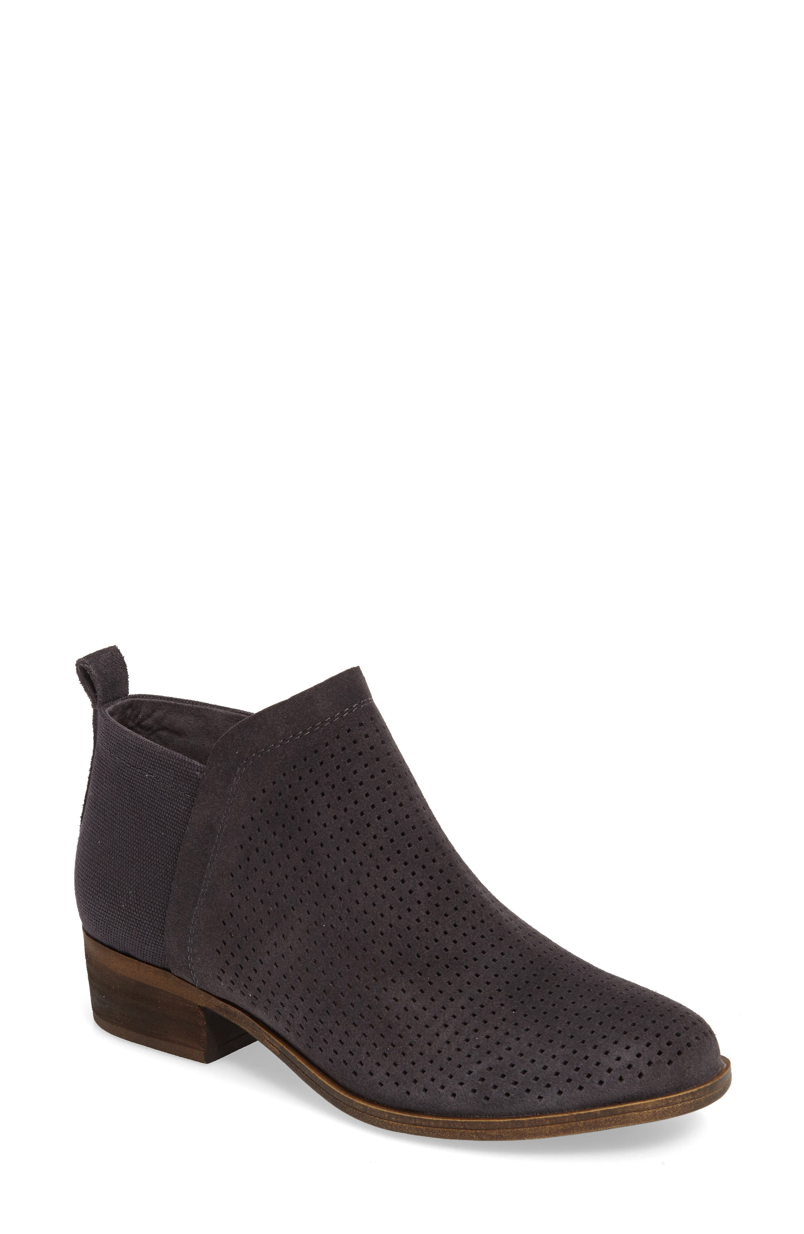 Deia Block Heel Bootie,                         Main,                         color, Forged Iron Suede