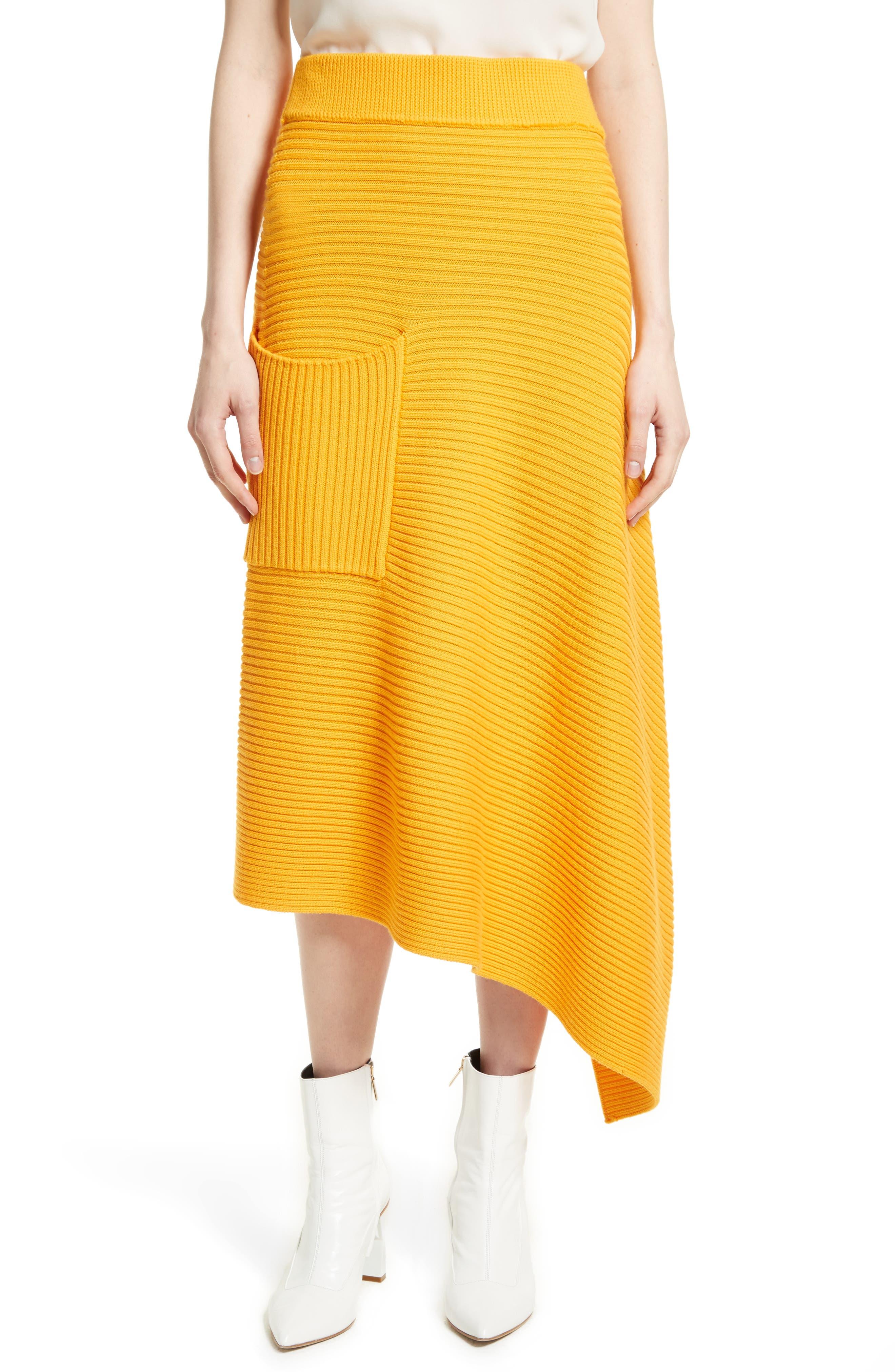 Asymmetrical Rib Merino Wool Skirt,                         Main,                         color, Marmalade