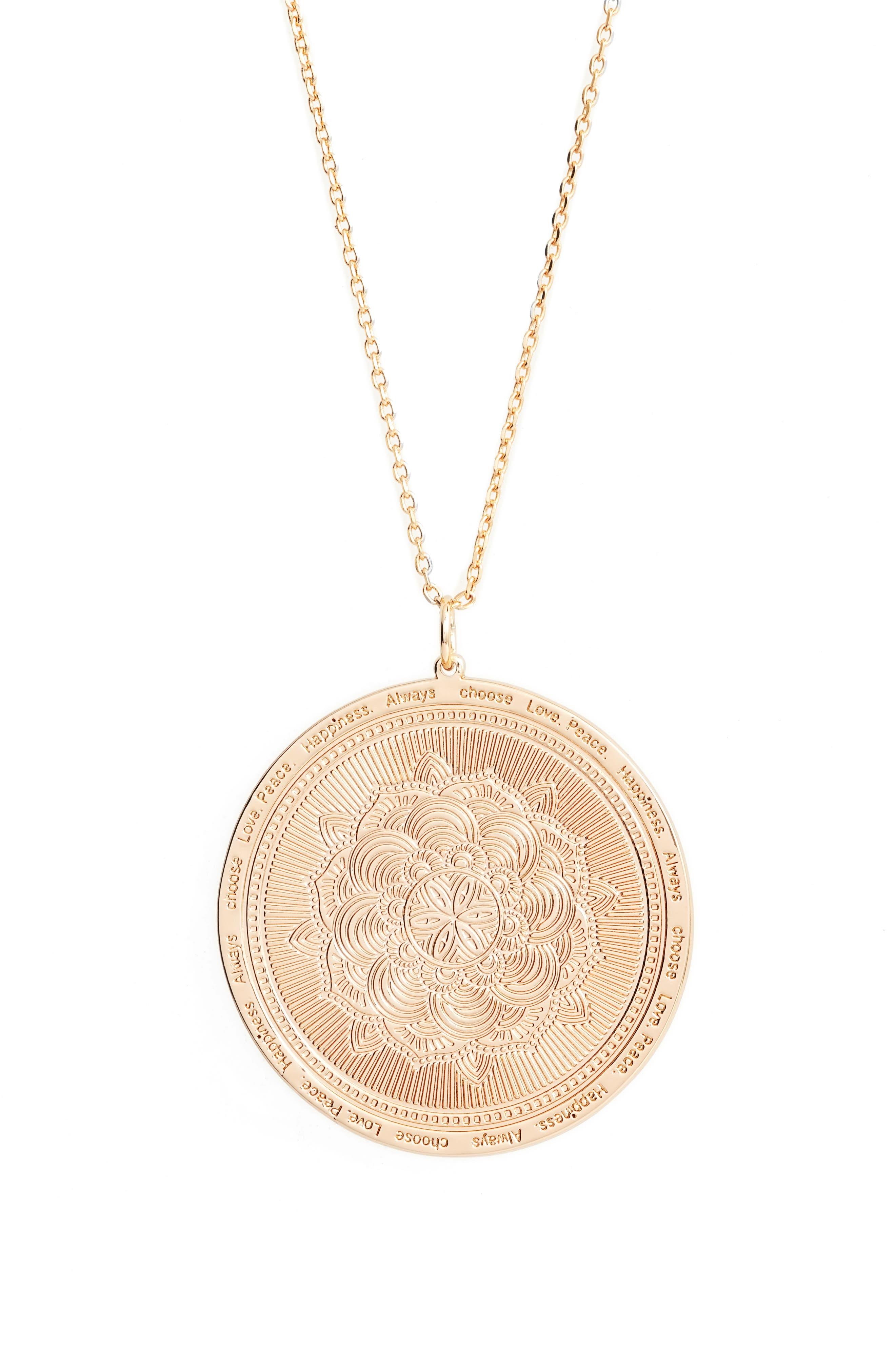 Always Choose Love Pendant Necklace,                             Main thumbnail 1, color,                             Rose Gold