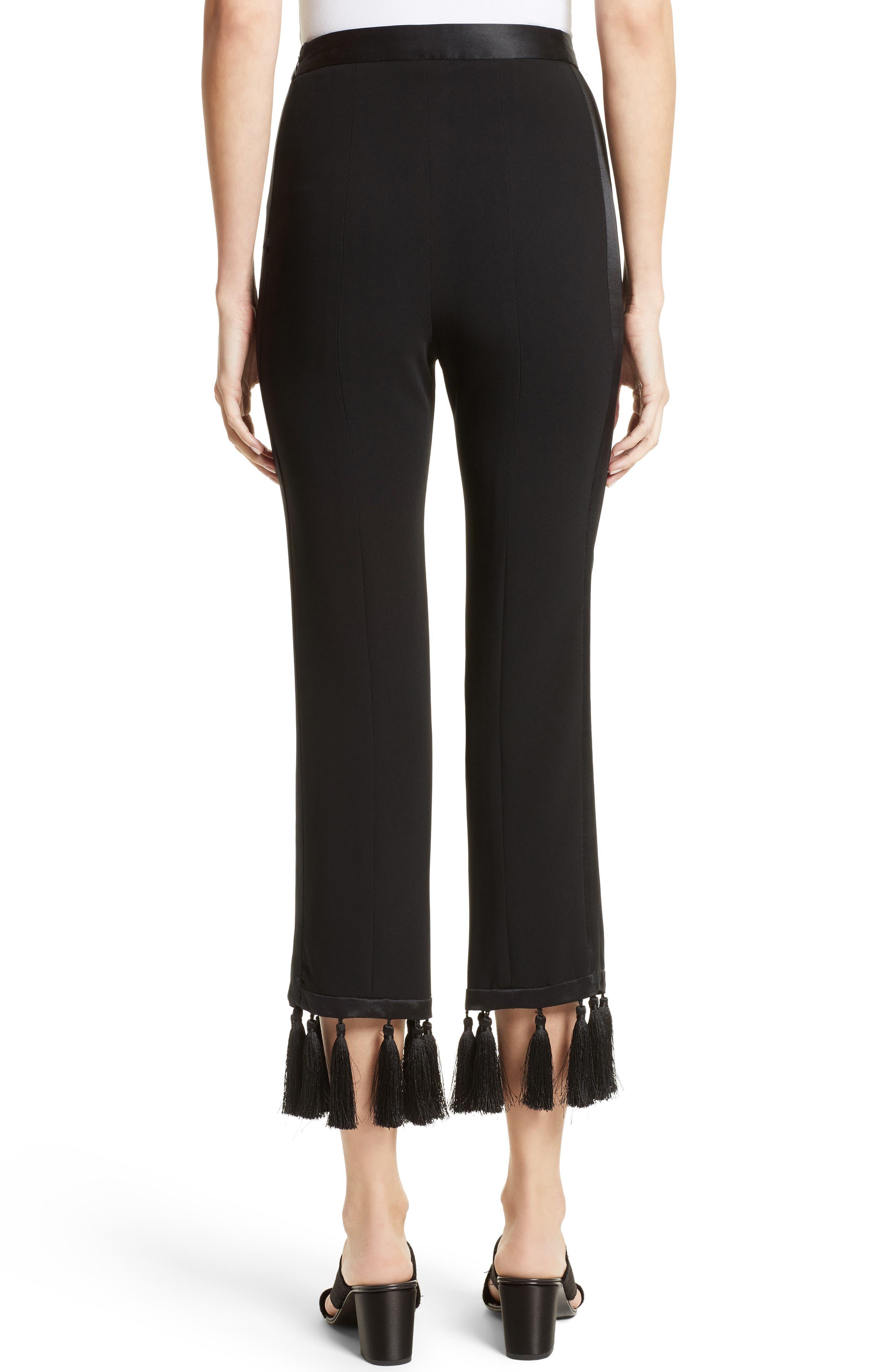Tash Tassel Crepe Pants,                             Alternate thumbnail 3, color,                             Black