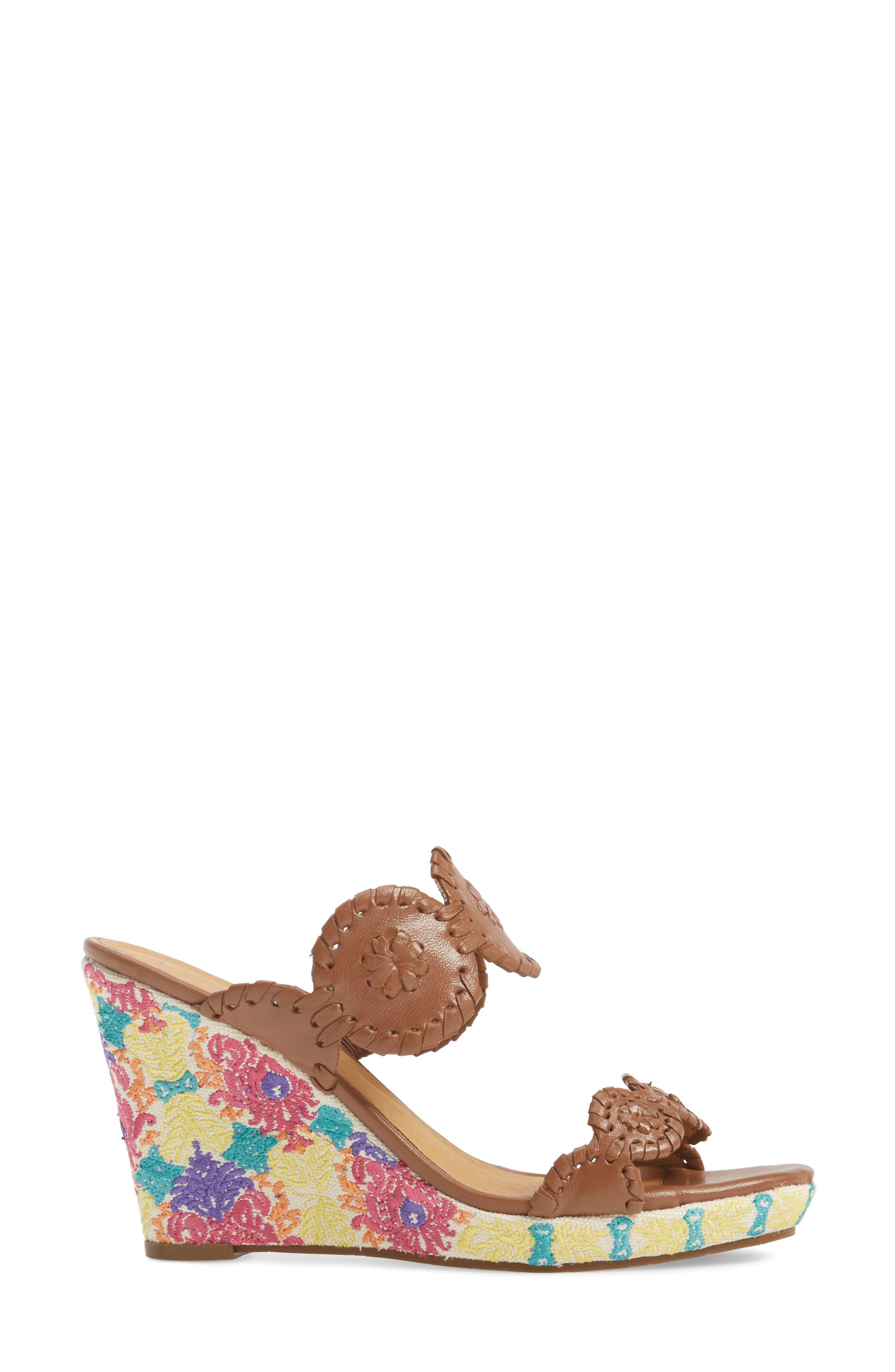 Livvy Wedge Slide Sandal,                             Alternate thumbnail 3, color,                             Cognac Leather