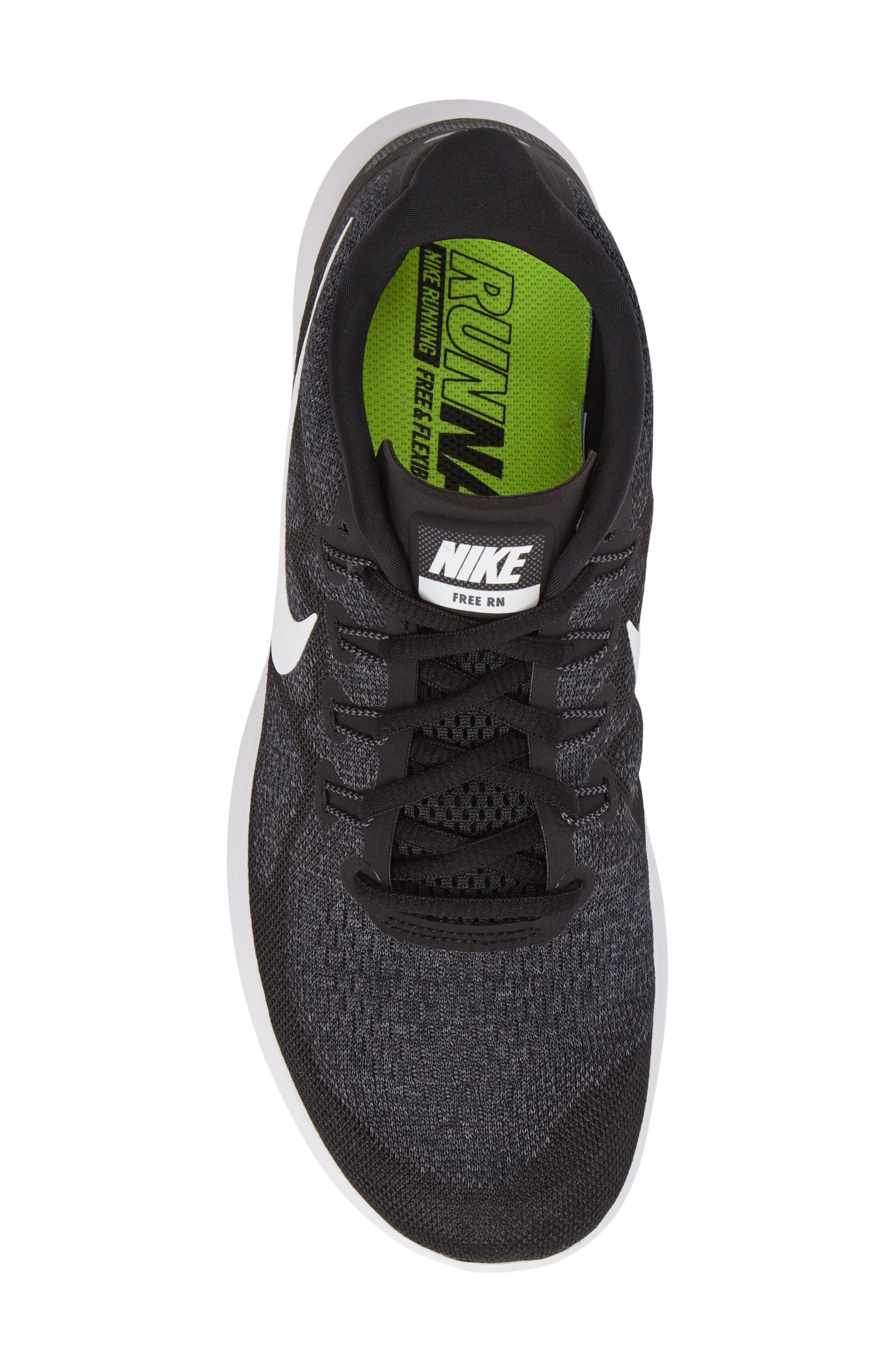 Free Run 2017 Running Shoe,                             Alternate thumbnail 5, color,                             Black/ White/ Grey/ Anthracite
