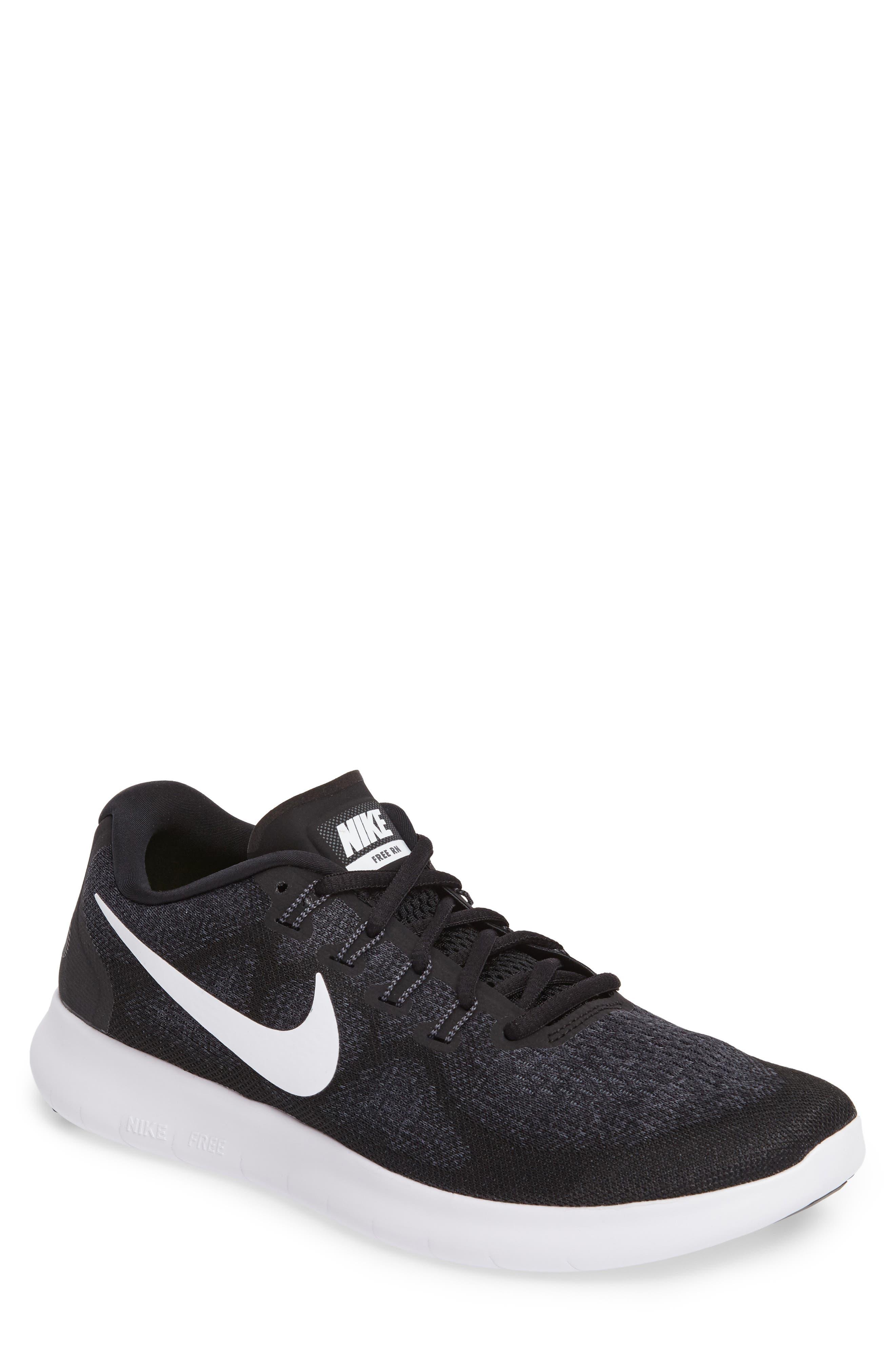 Free Run 2017 Running Shoe,                         Main,                         color, Black/ White/ Grey/ Anthracite