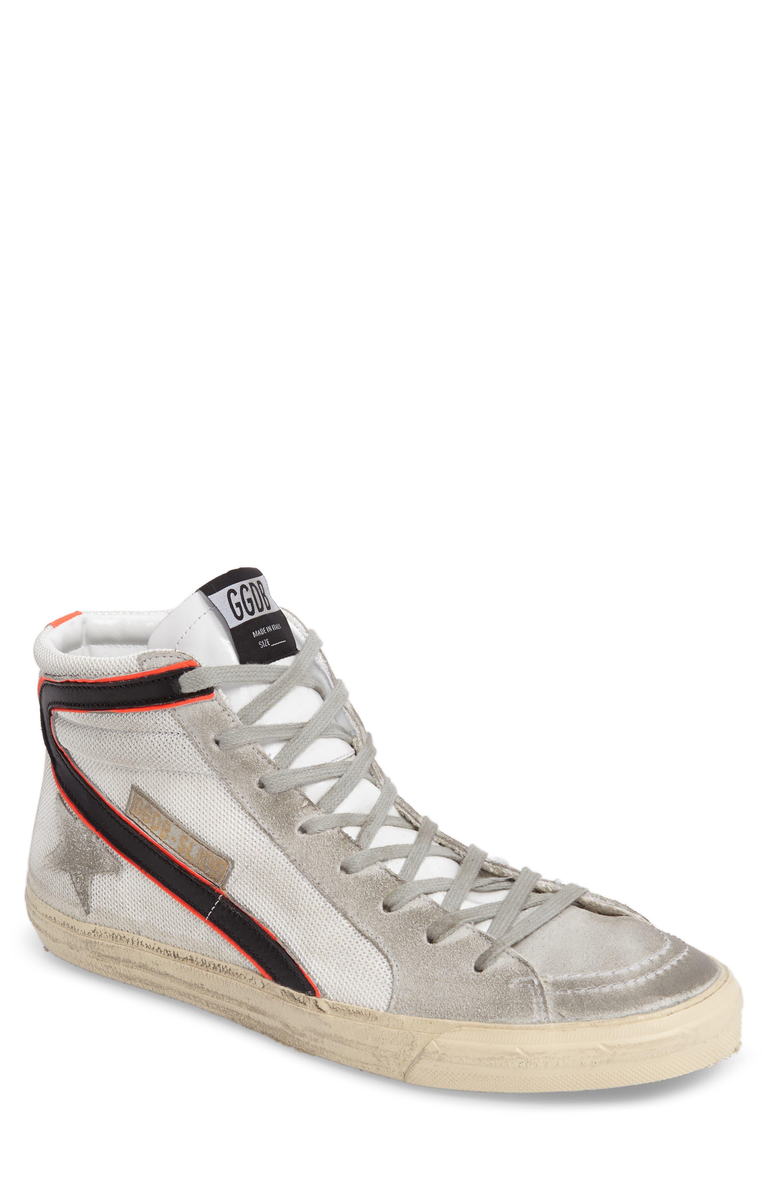 'Slide' Sneaker,                             Main thumbnail 1, color,                             White/ Silver Leather