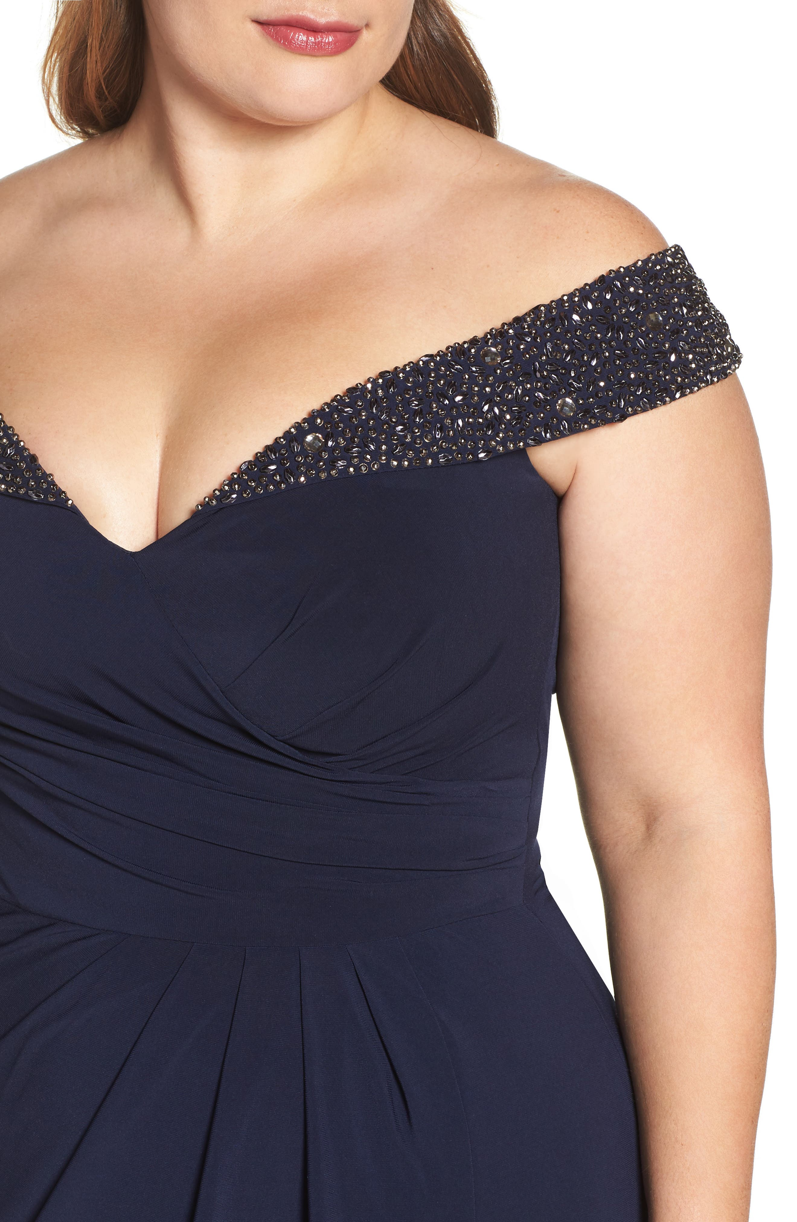 Alternate Image 4  - Xscape Embellished Off the Shoulder Gown (Plus Size)
