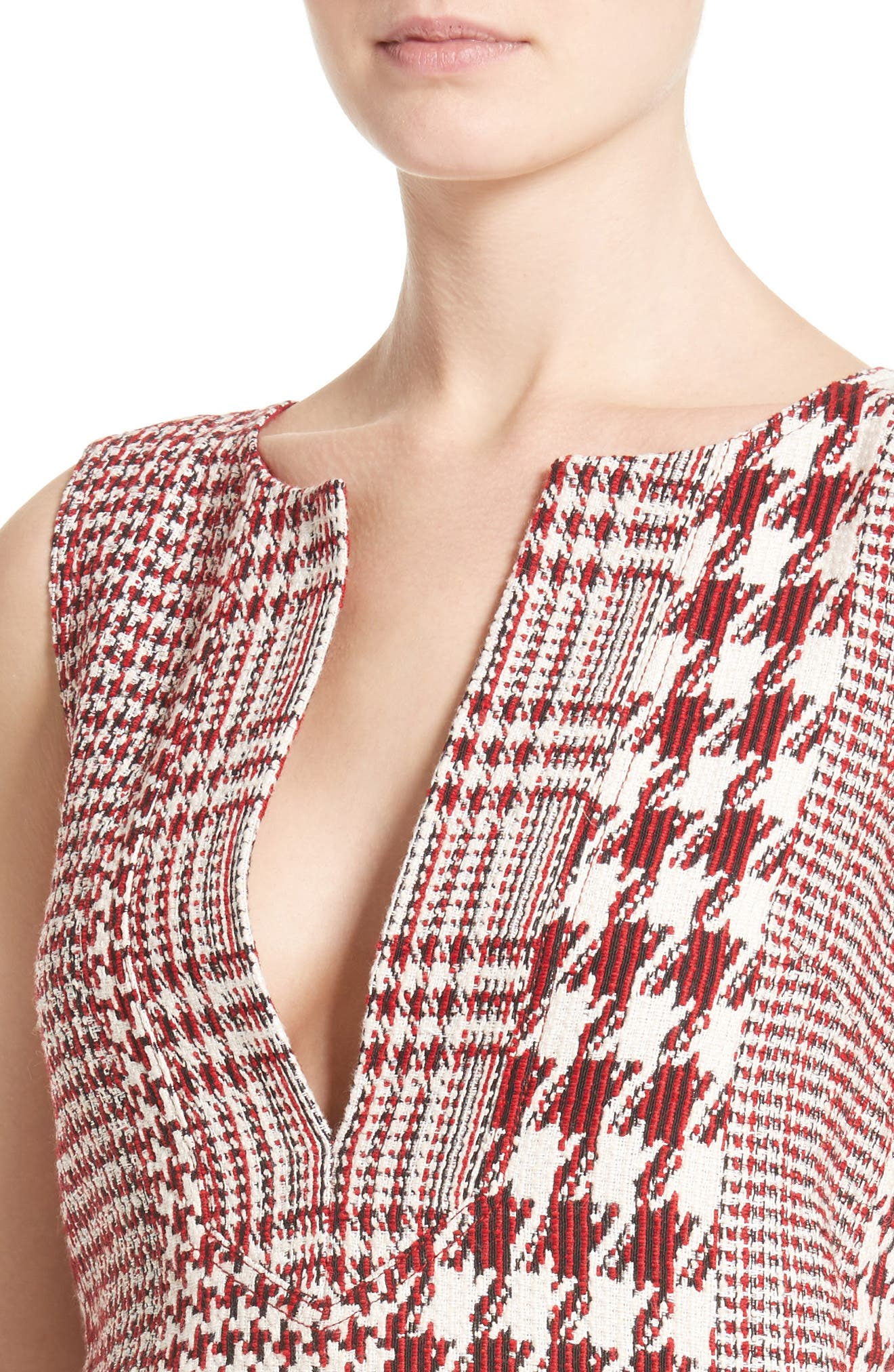 Houndstooth Watteau Blouse,                             Alternate thumbnail 6, color,                             Red Multi