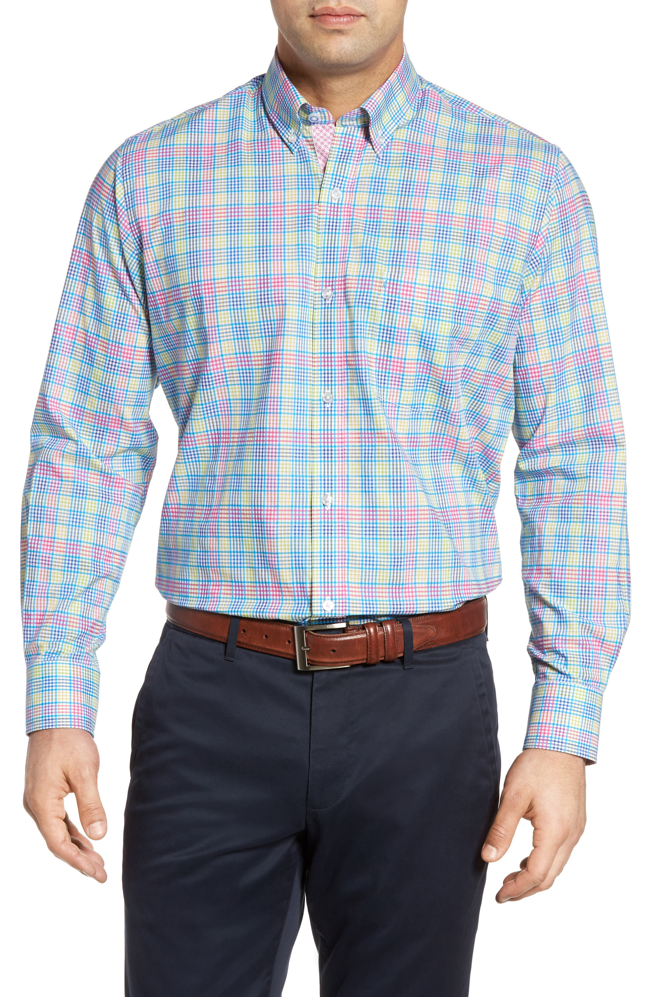 Peachleaf Sport Shirt,                         Main,                         color, Blue/ Lime
