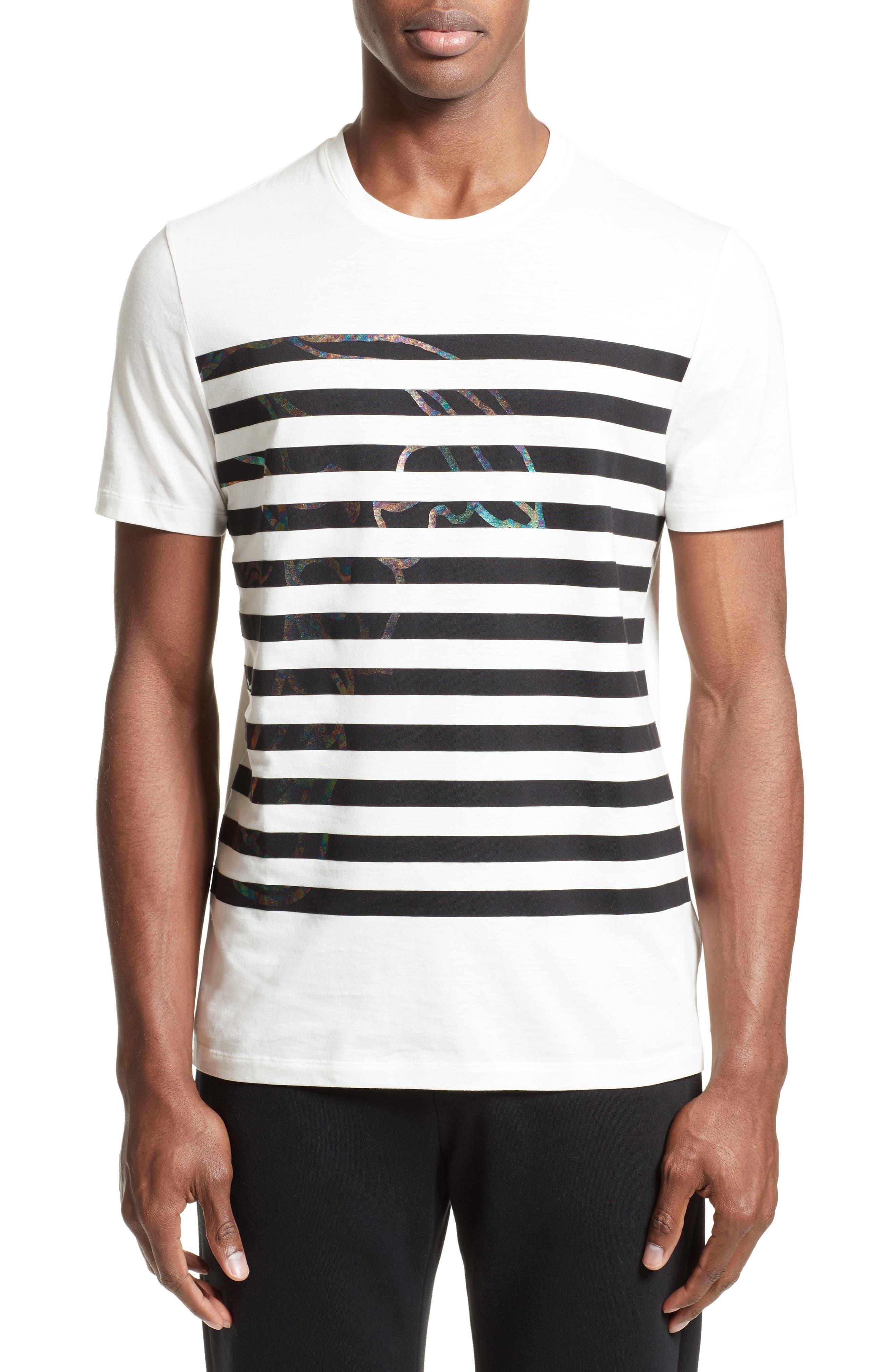Hologram Stripe T-Shirt,                         Main,                         color, White