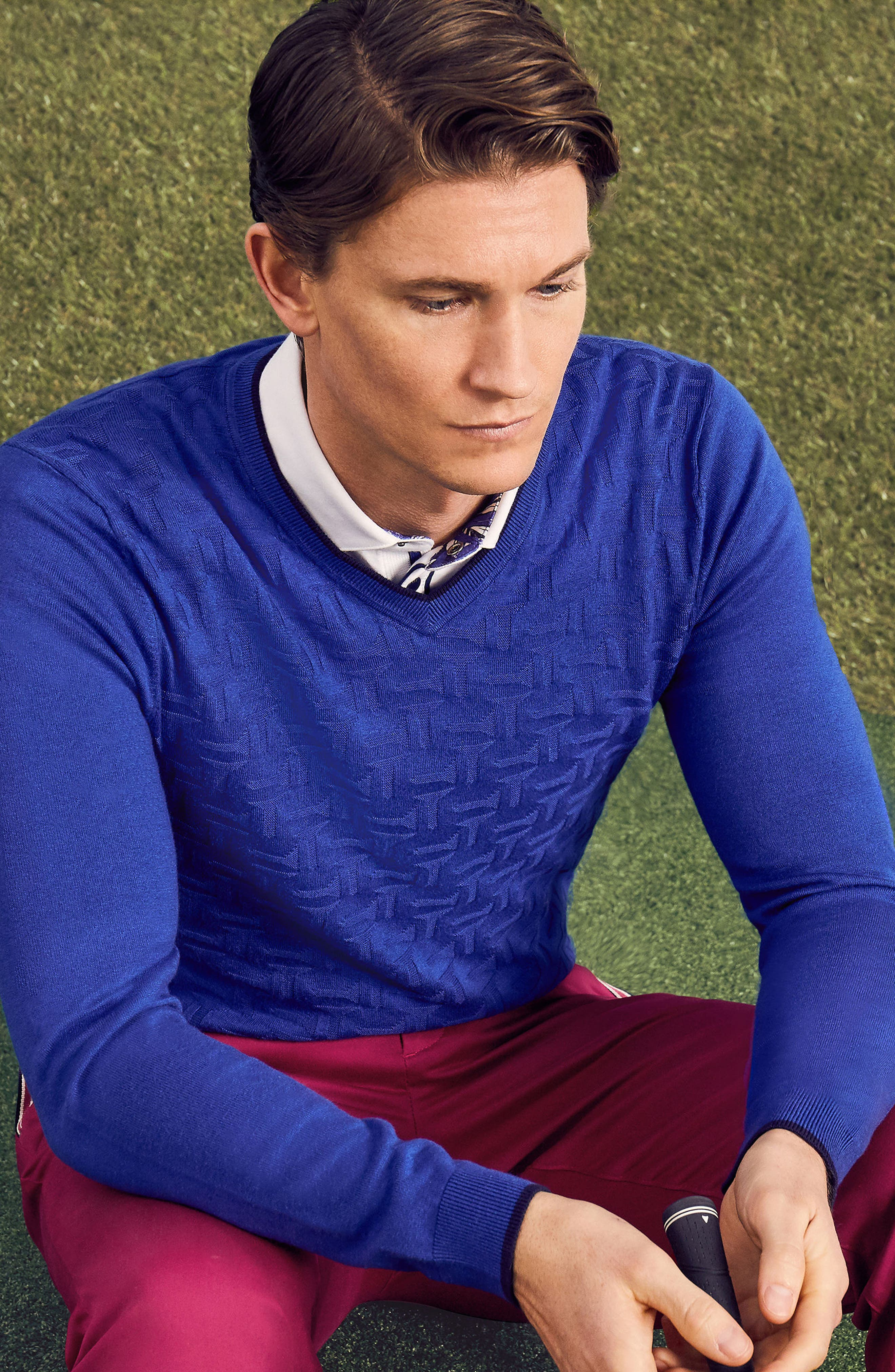 Armstro Tipped Golf Tee Sweater,                             Alternate thumbnail 8, color,                             Blue