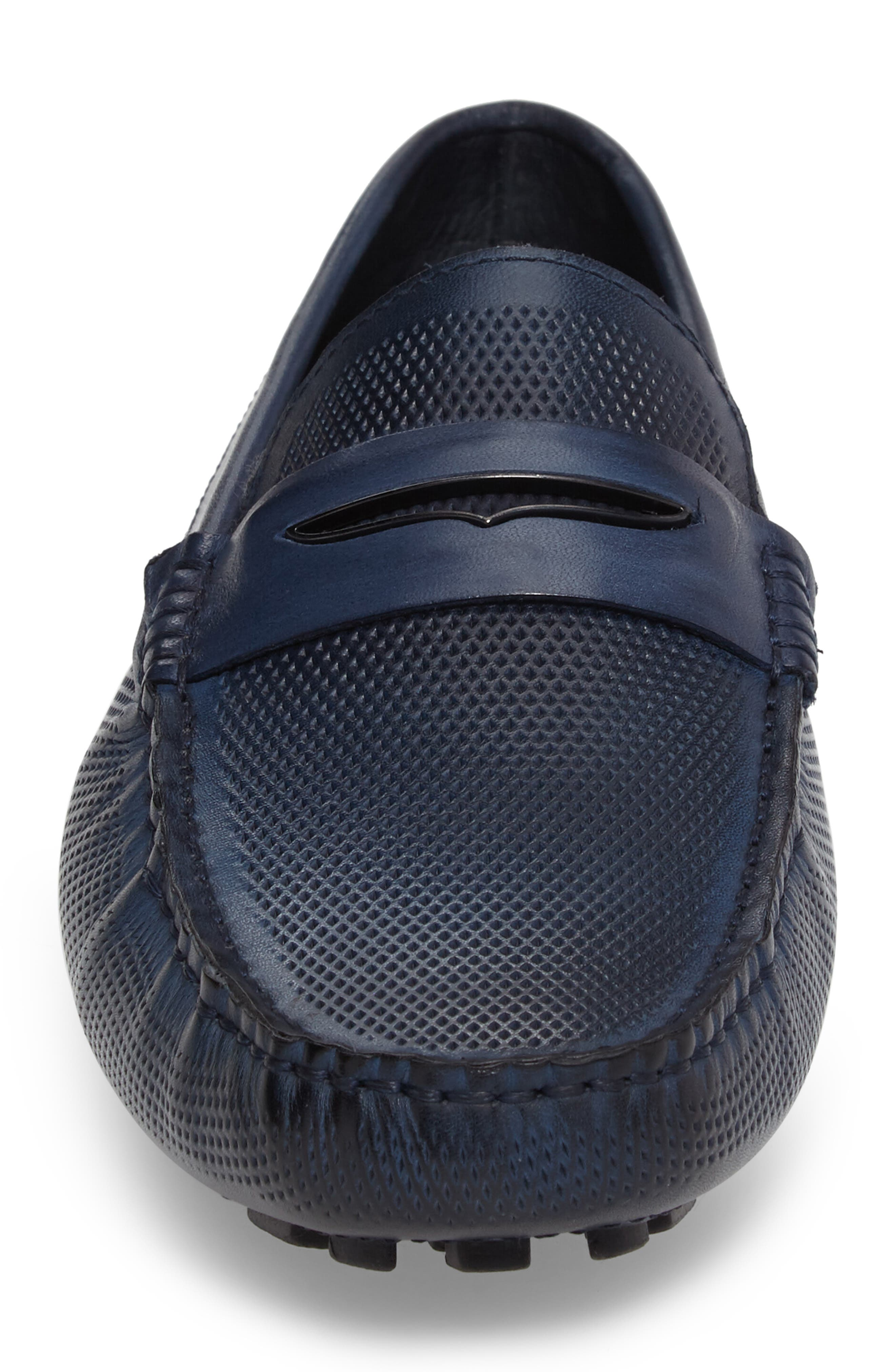 Mondrian Driving Shoe,                             Alternate thumbnail 4, color,                             Blue Leather