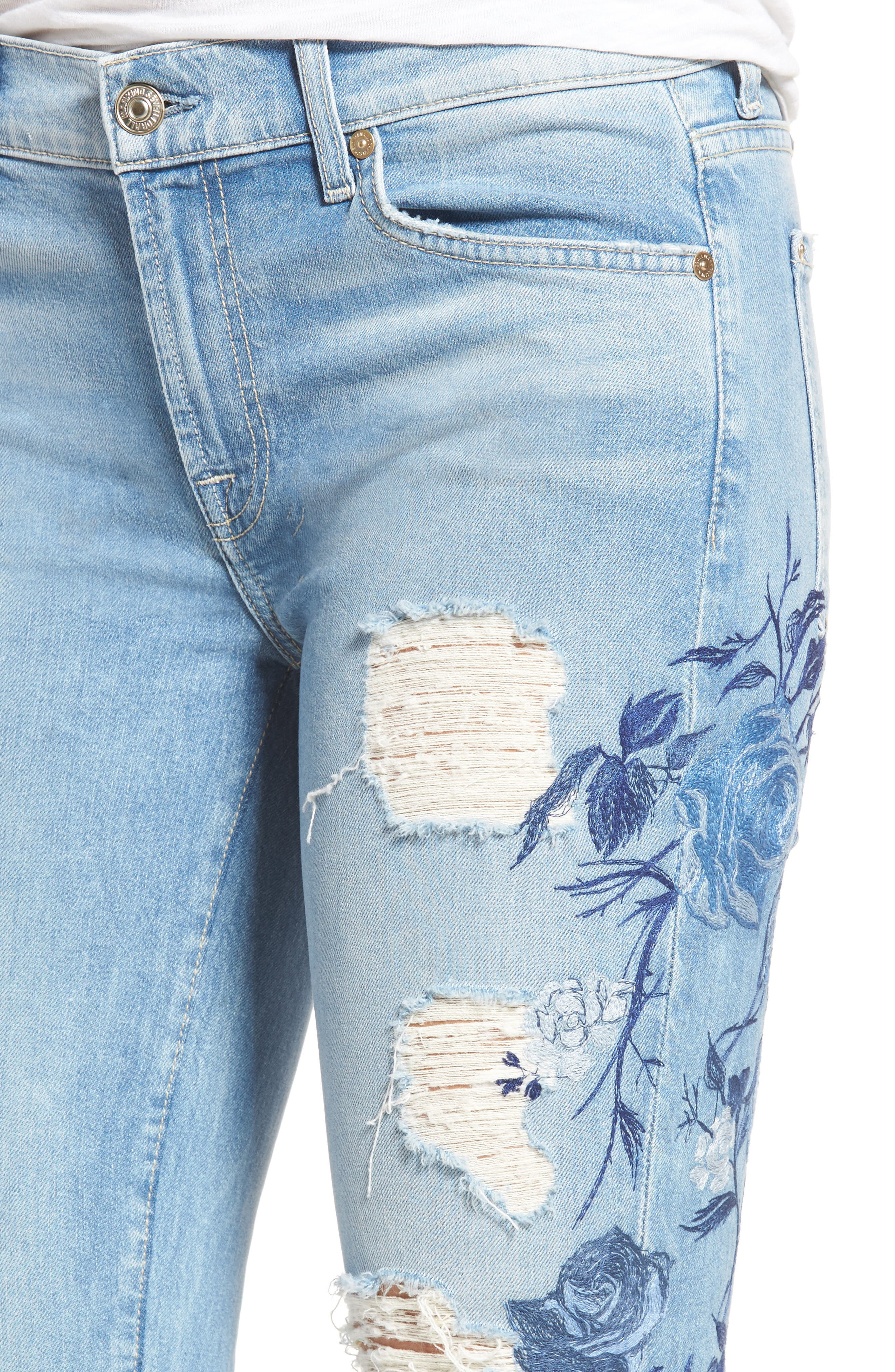 Alternate Image 4  - 7 For All Mankind® Embroidered Ankle Skinny Jeans (Vintage Air Light)