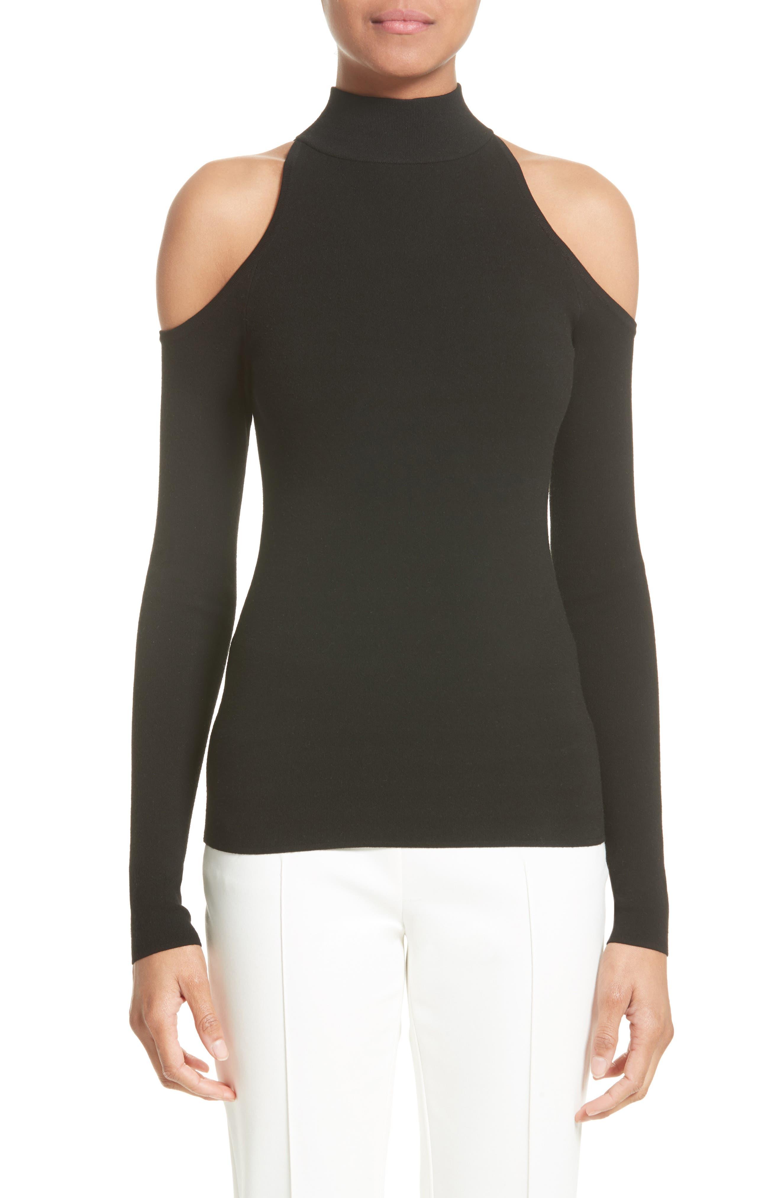 Cold Shoulder Stretch Knit Top,                         Main,                         color, Black