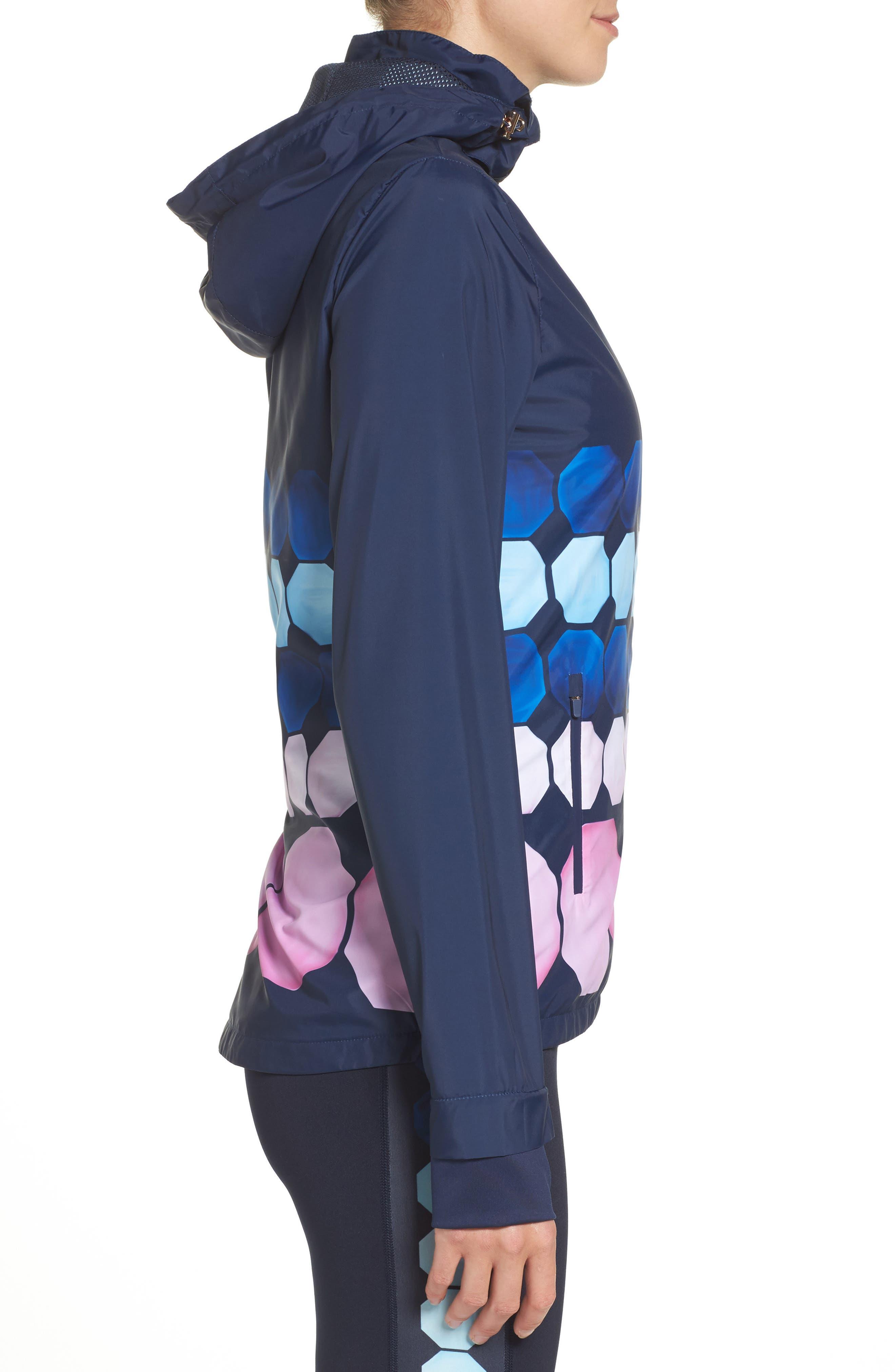 Marina Mosaic Hooded Jacket,                             Alternate thumbnail 3, color,                             Navy